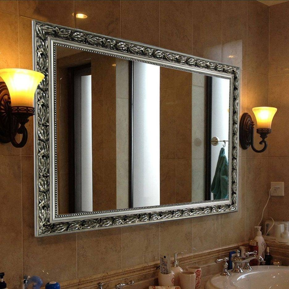 Baroque Silver Rectangular Wall Mounted Large Bathroom Mirror With pertaining to Silver Rectangular Bathroom Mirrors (Image 1 of 25)