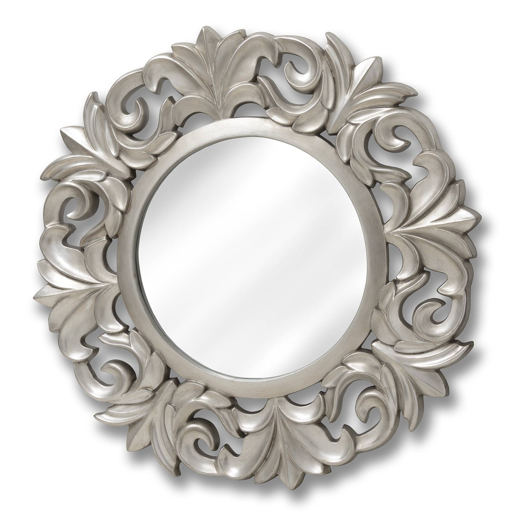 Baroque Style Round Silver Mirror | Happy Home Interiors inside Baroque Style Mirrors (Image 8 of 25)
