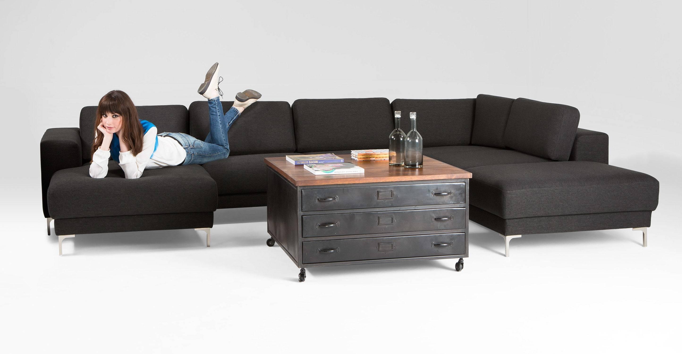 Bartoli Large Corner Unit Sofa In Whistler Grey | Made intended for Sofa Corner Units (Image 2 of 30)