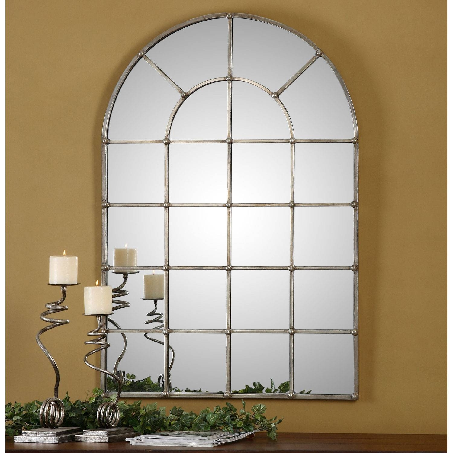 Barwell Forged Metal With Oxidized Plated Silver Arch Window inside Arched Window Mirrors (Image 10 of 25)
