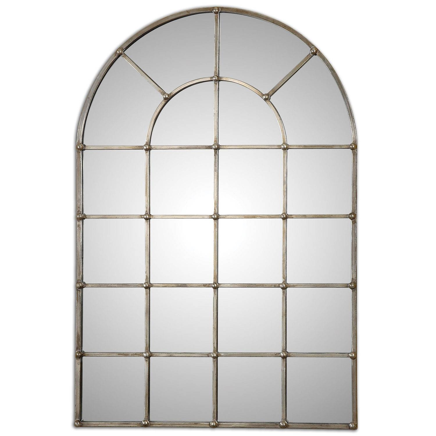Barwell Forged Metal With Oxidized Plated Silver Arch Window pertaining to Window Arch Mirrors (Image 8 of 25)