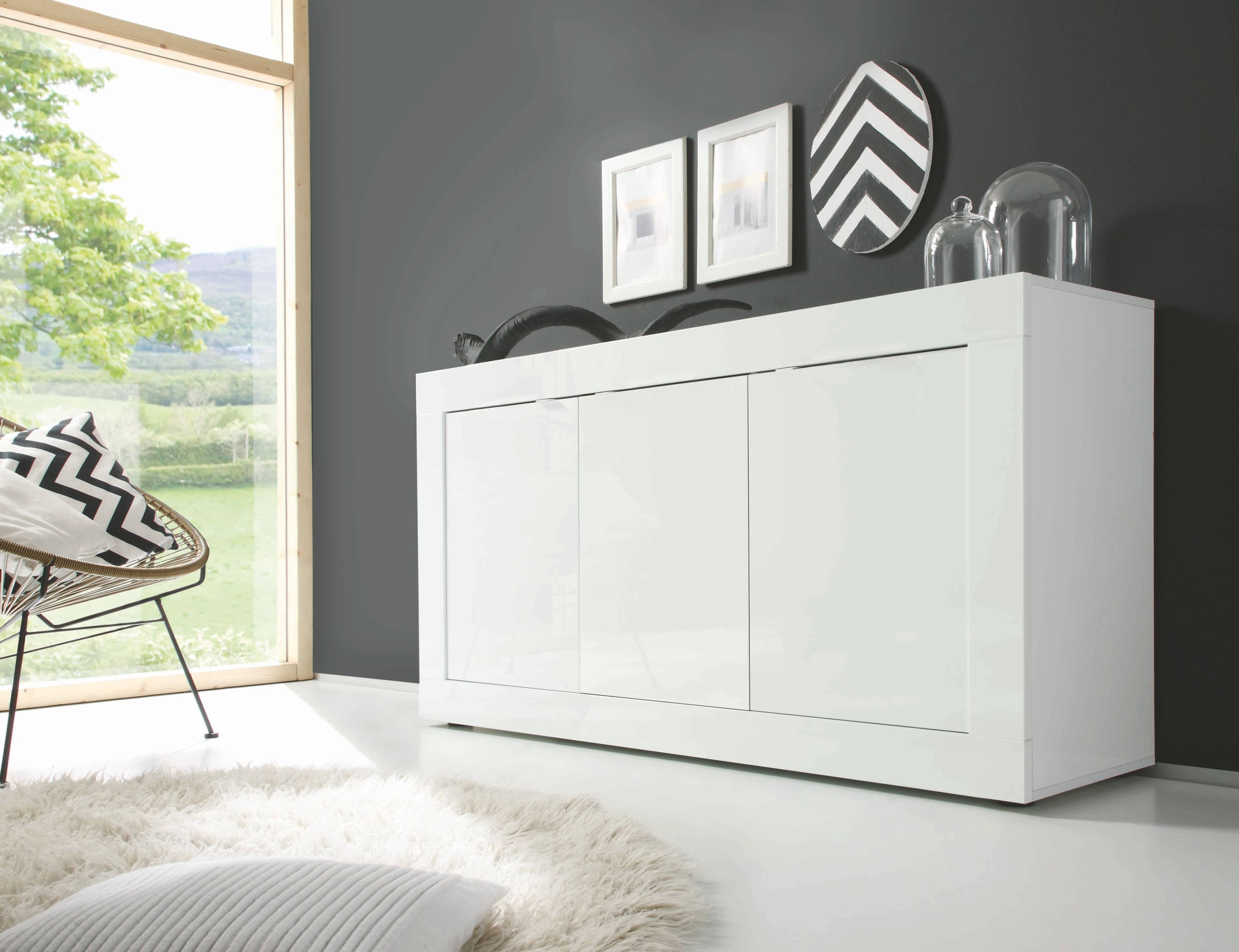 Basic 3-Door Sideboard, All White Buy Online At Best Price - Sohomod with regard to White Sideboard Furniture (Image 2 of 30)