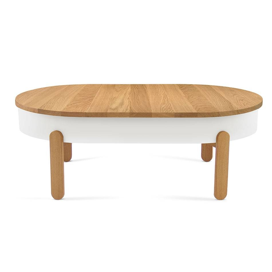 Batea Table Collection Features Complimentary Storage Space Pertaining To White And Oak Coffee Tables (View 12 of 30)