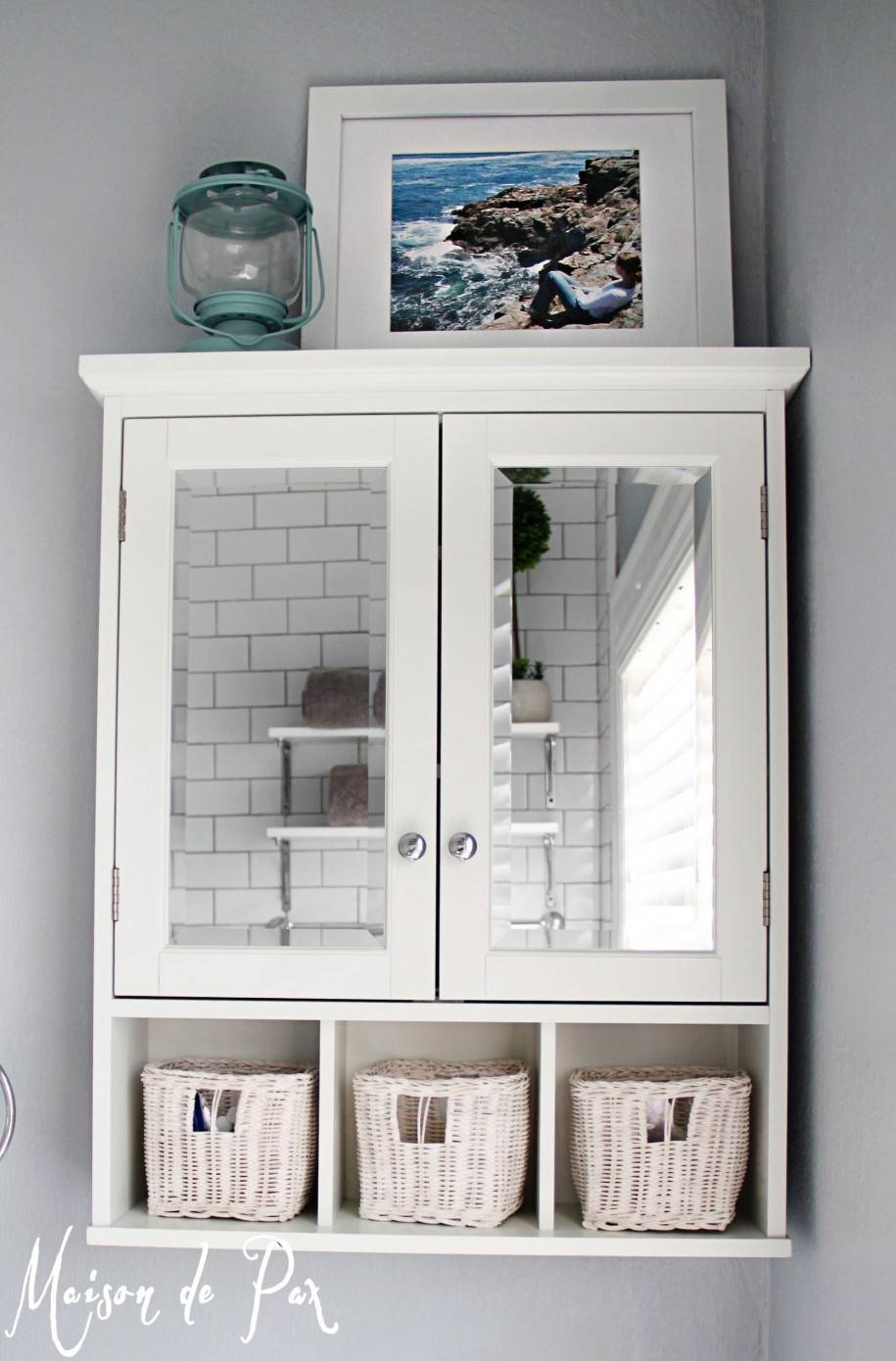 Bathroom: Awesome Vintage White Wood Bathroom Mirrors With Double throughout Vintage White Mirrors (Image 5 of 25)