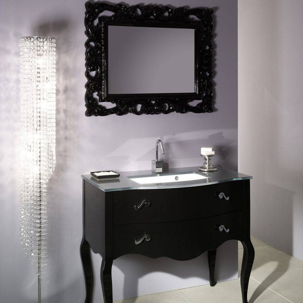 Bathroom : Design Appealing Retro French Style Black Paint Finish within Retro Bathroom Mirrors (Image 5 of 25)