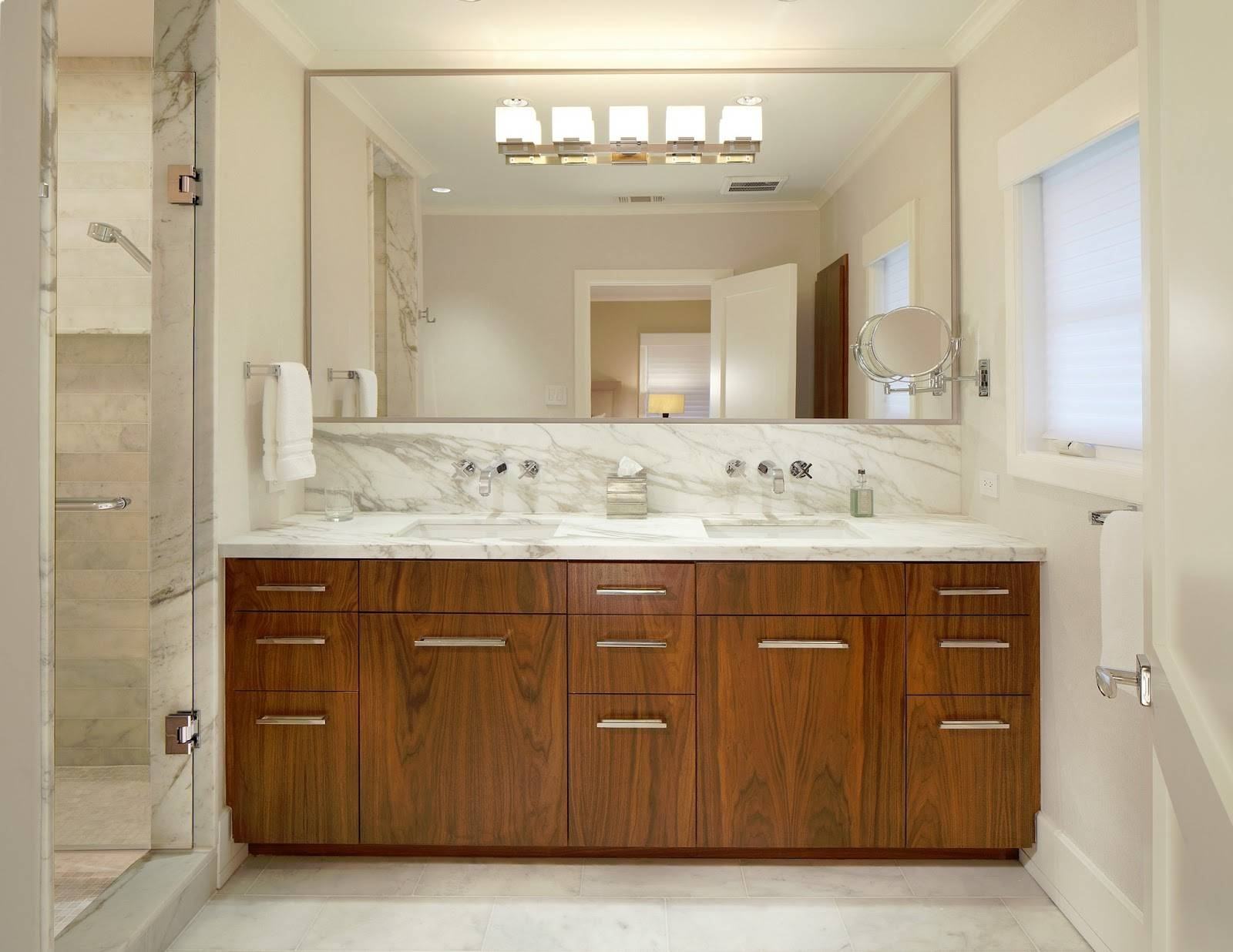 Bathroom: Elegant Bathroom Decor With Large Framed Bathroom pertaining to Frameless Large Wall Mirrors (Image 3 of 25)