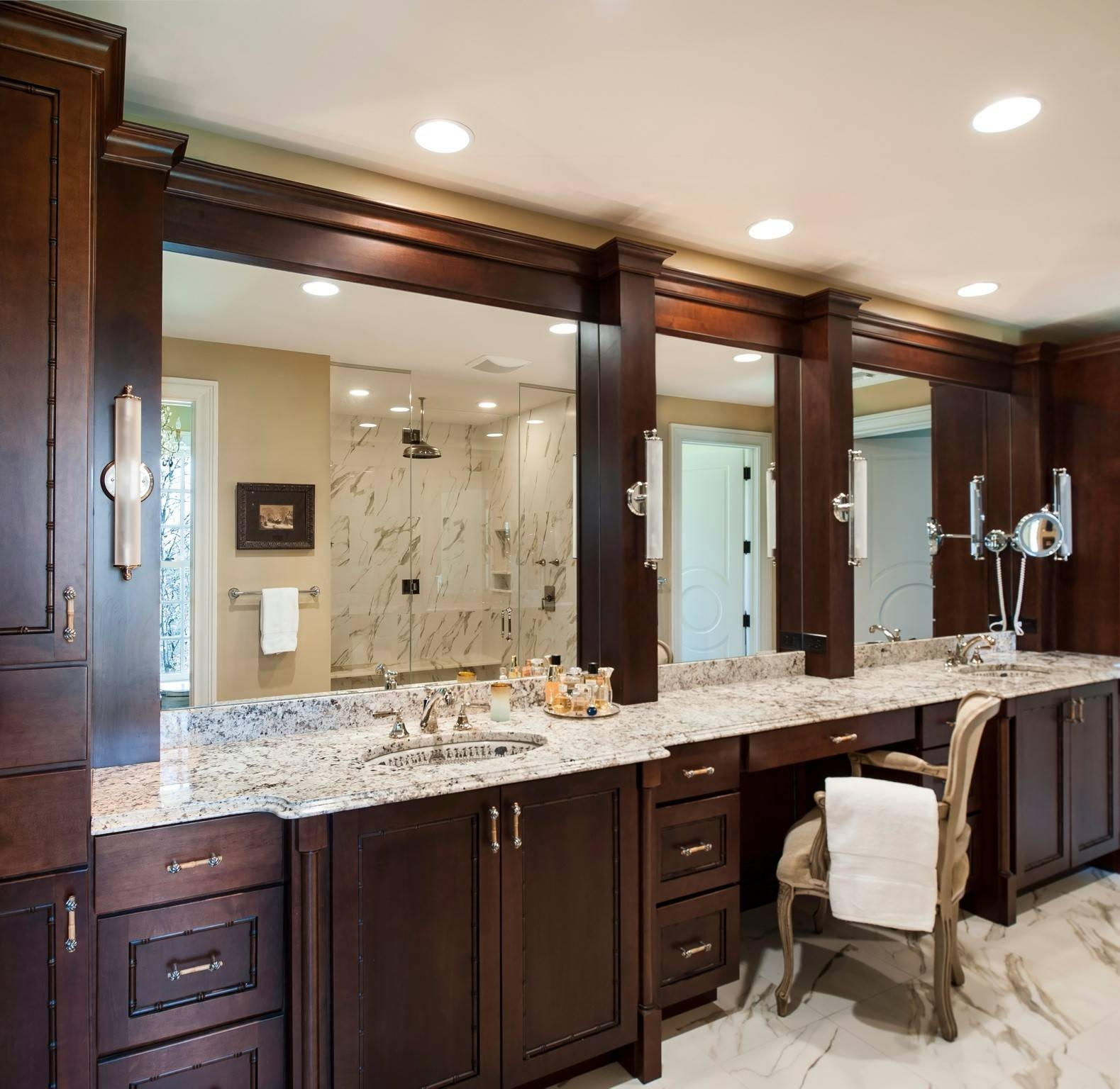 Bathroom: Elegant Bathroom Decor With Large Framed Bathroom pertaining to Large Landscape Mirrors (Image 4 of 25)
