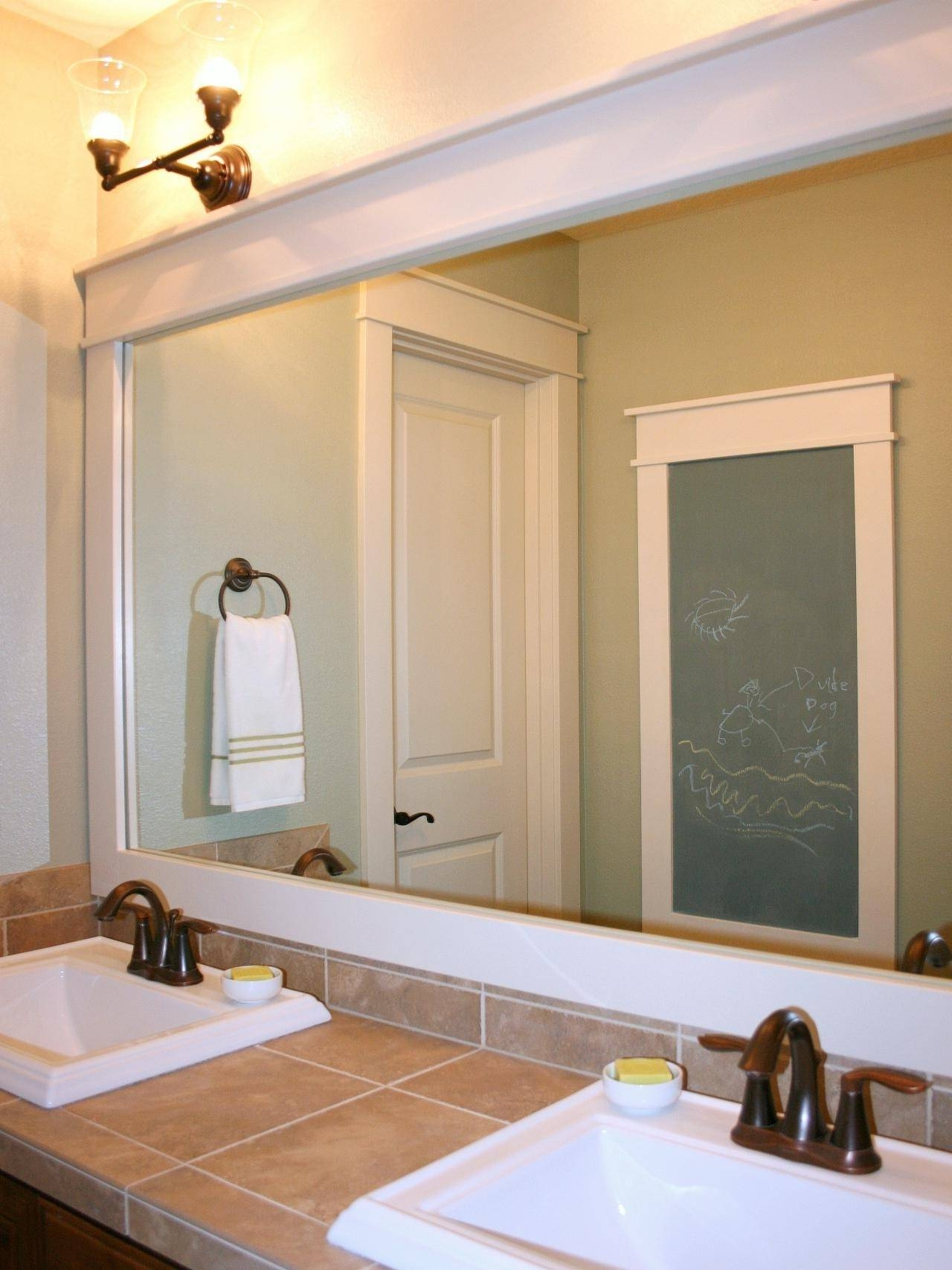 Bathroom: Elegant Bathroom Decor With Large Framed Bathroom Within Antique Frameless Mirrors (View 17 of 25)