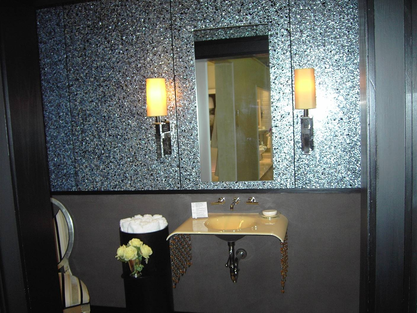 Bathroom: Exquisite Bathroom Decorating Ideas Using Black White throughout Silver Glitter Mirrors (Image 4 of 25)
