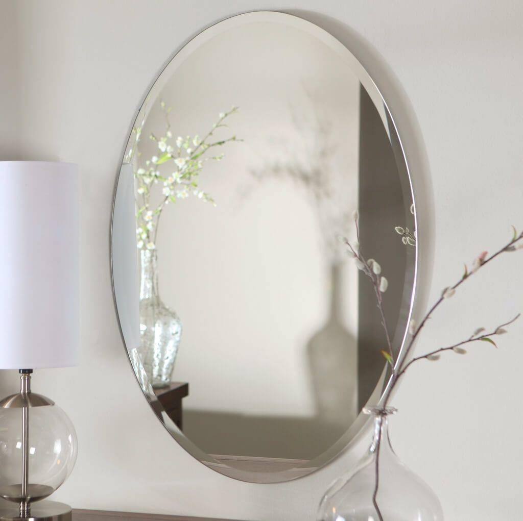 Bathroom: Frameless Beveled Oval Bathroom Mirror - Oval Bathroom for White Oval Mirrors (Image 1 of 25)