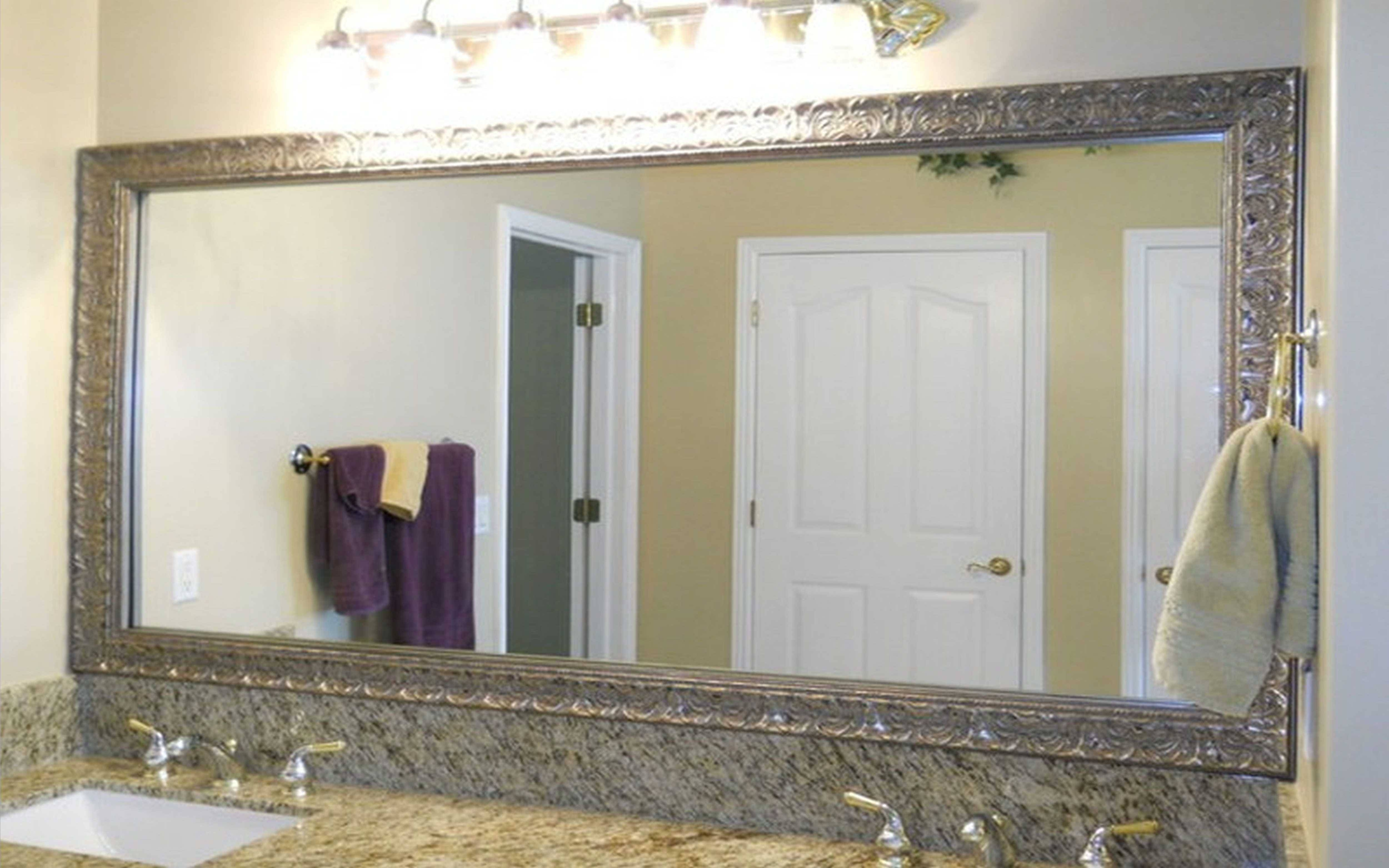 Bathroom: Framing Large Bathroom Mirror | Oversized Wall Mirror With Regard To Silver Rectangular Mirrors (View 5 of 25)
