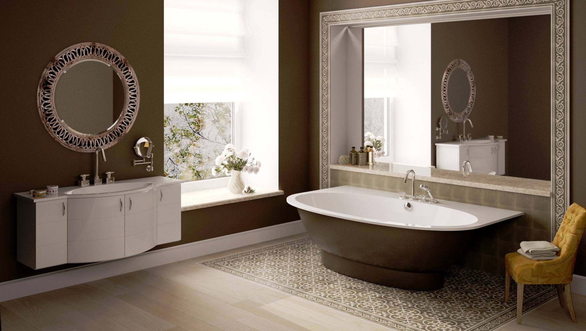 Bathroom Ideas. Brown Free Standing Bathtub With White Inner And within Free Standing Oval Mirrors (Image 4 of 25)