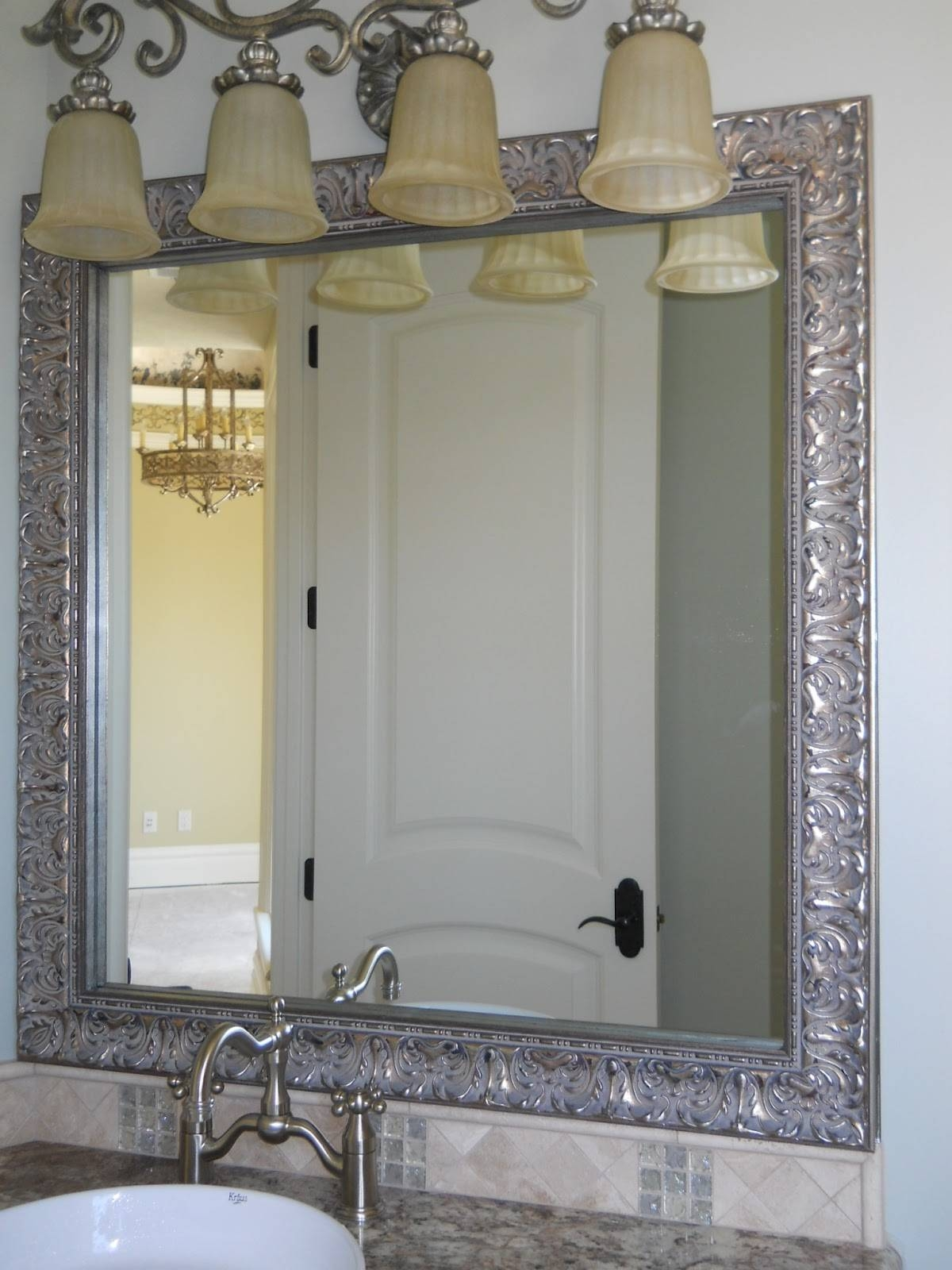 Bathroom Ideas. Silver Stained Carved Wood Rectangular Framed with Silver Rectangular Bathroom Mirrors (Image 2 of 25)