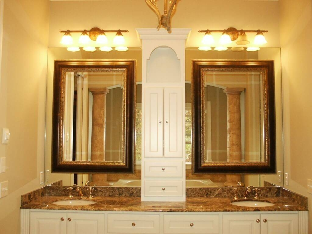 Bathroom: Large Framed Bathroom Mirrors | Gold Vanity Mirror Within Small Gold Mirrors (View 6 of 25)