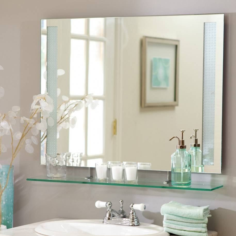 Bathroom: Light Up Your Home With Frameless Beveled Mirror intended for Large No Frame Mirrors (Image 4 of 25)