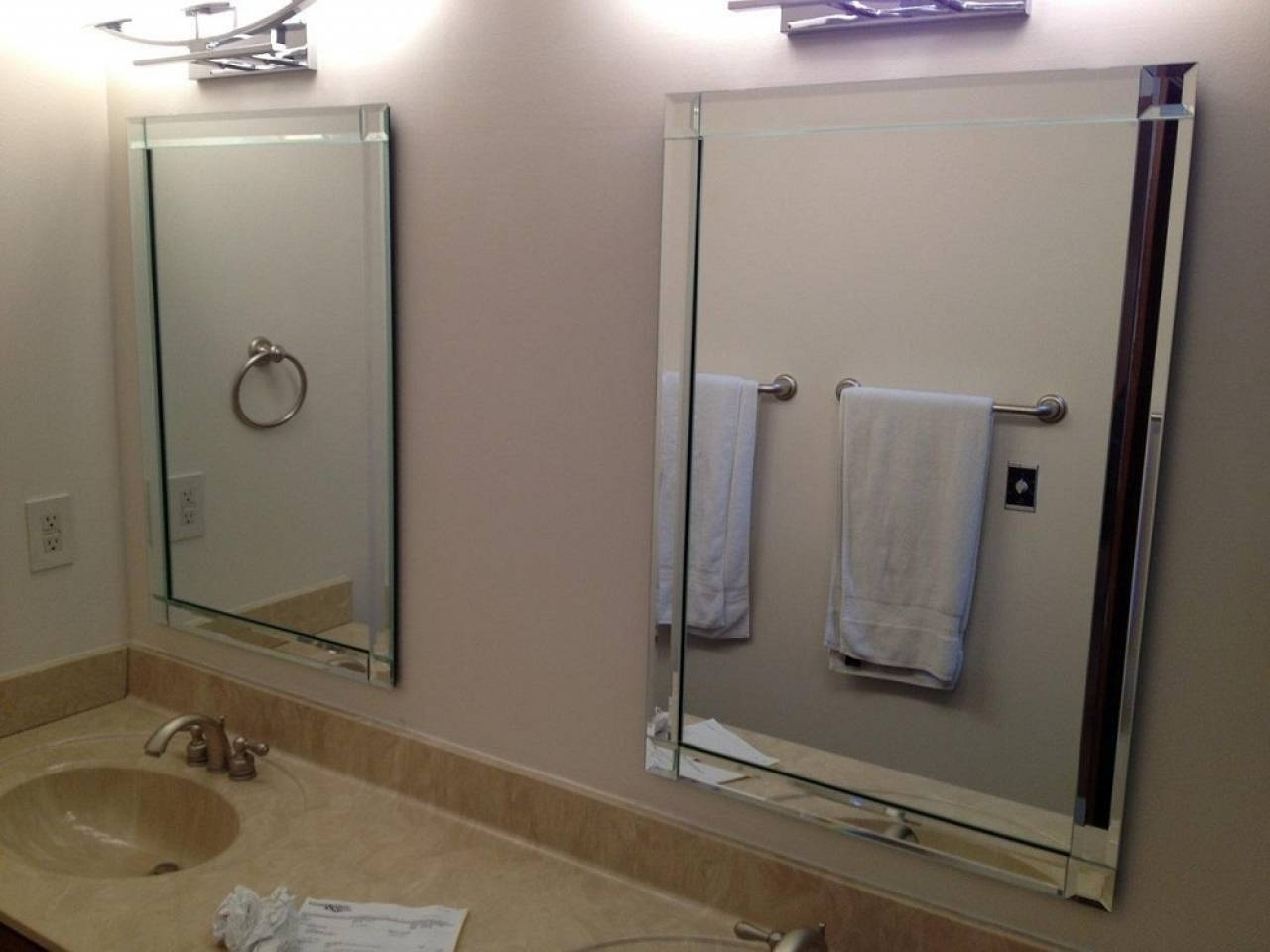 Bathroom: Light Up Your Home With Frameless Beveled Mirror throughout Frameless Arched Mirrors (Image 3 of 25)