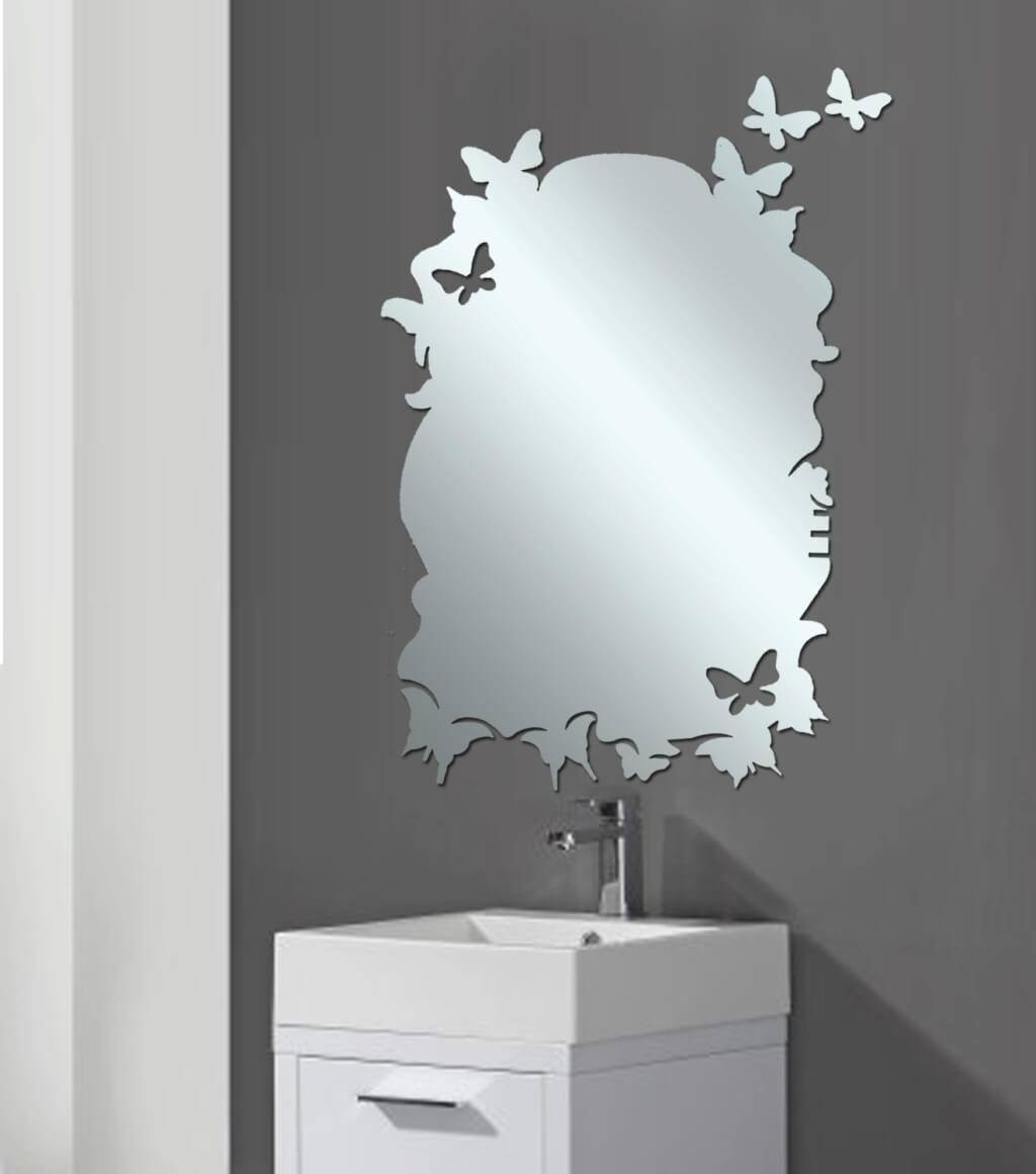 Bathroom: Marvelous Wall Bathroom Mirror With Contemporary Wooden for Unusual Shaped Mirrors (Image 4 of 25)
