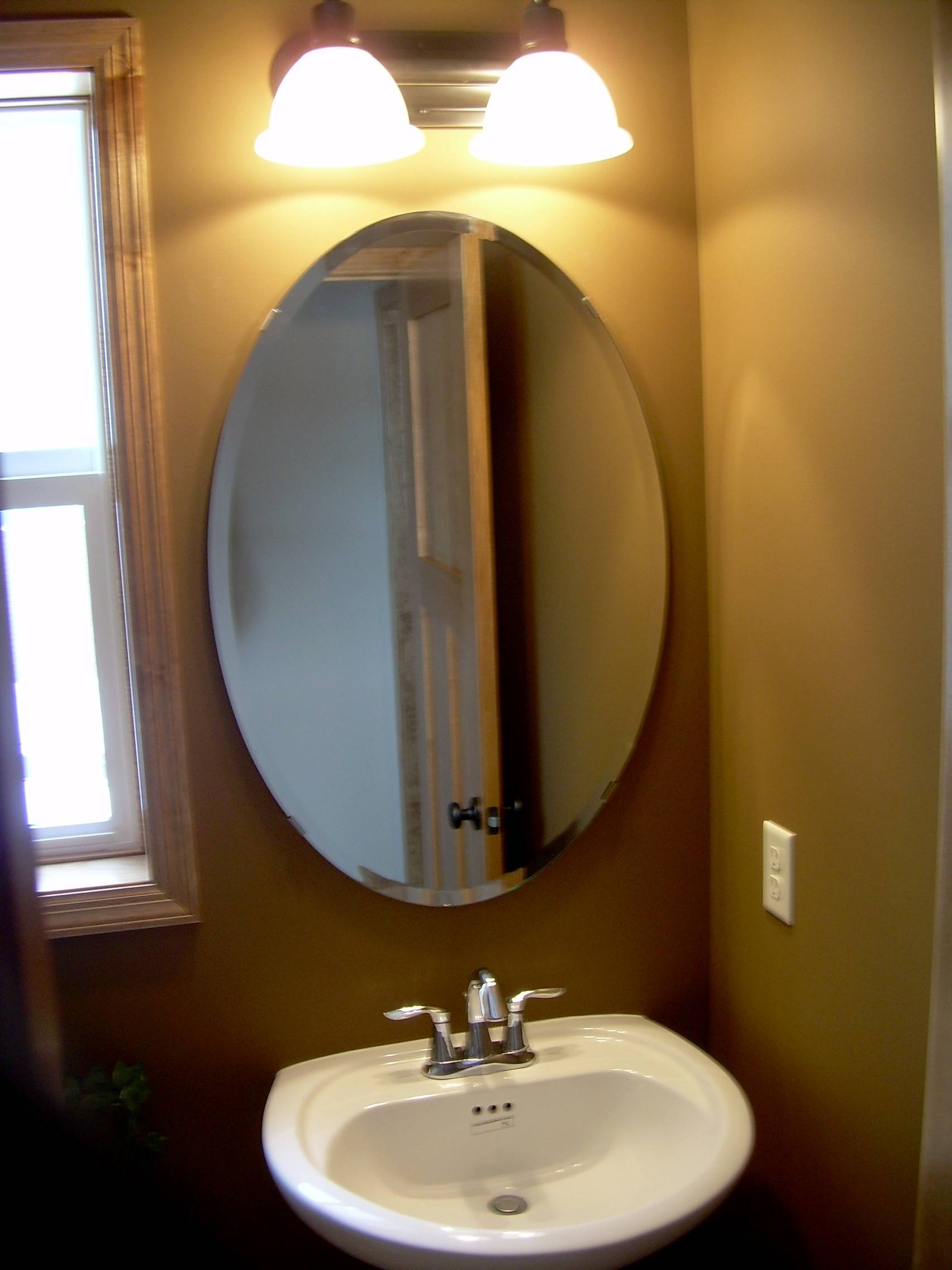 Bathroom: Mirrors For Bathrooms Ideas Hung On Cream Wall With Oval within Triple Oval Mirrors (Image 3 of 25)