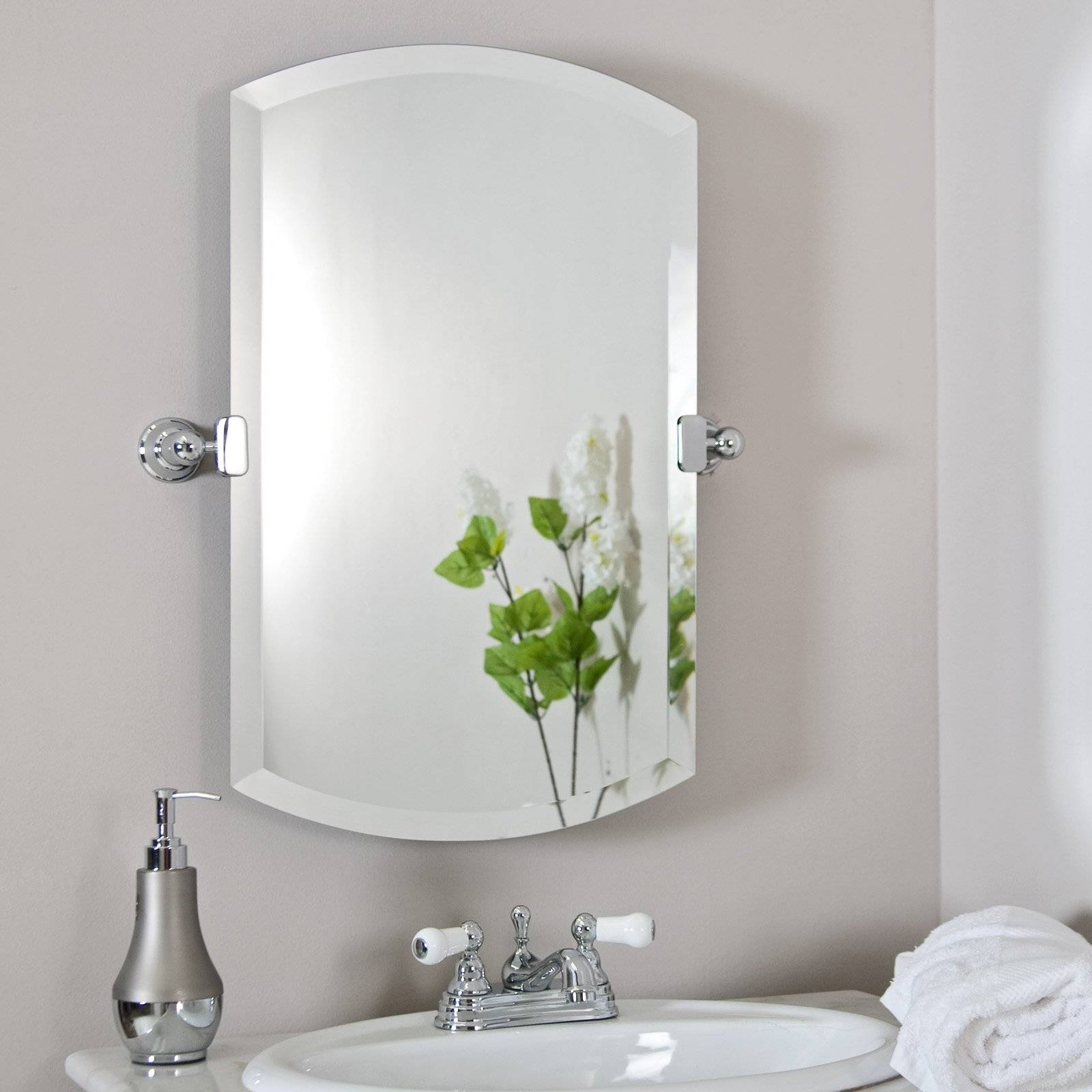 Bathroom: Mirrors For Bathrooms In White Themed Bathroom With inside Silver Rectangular Bathroom Mirrors (Image 4 of 25)