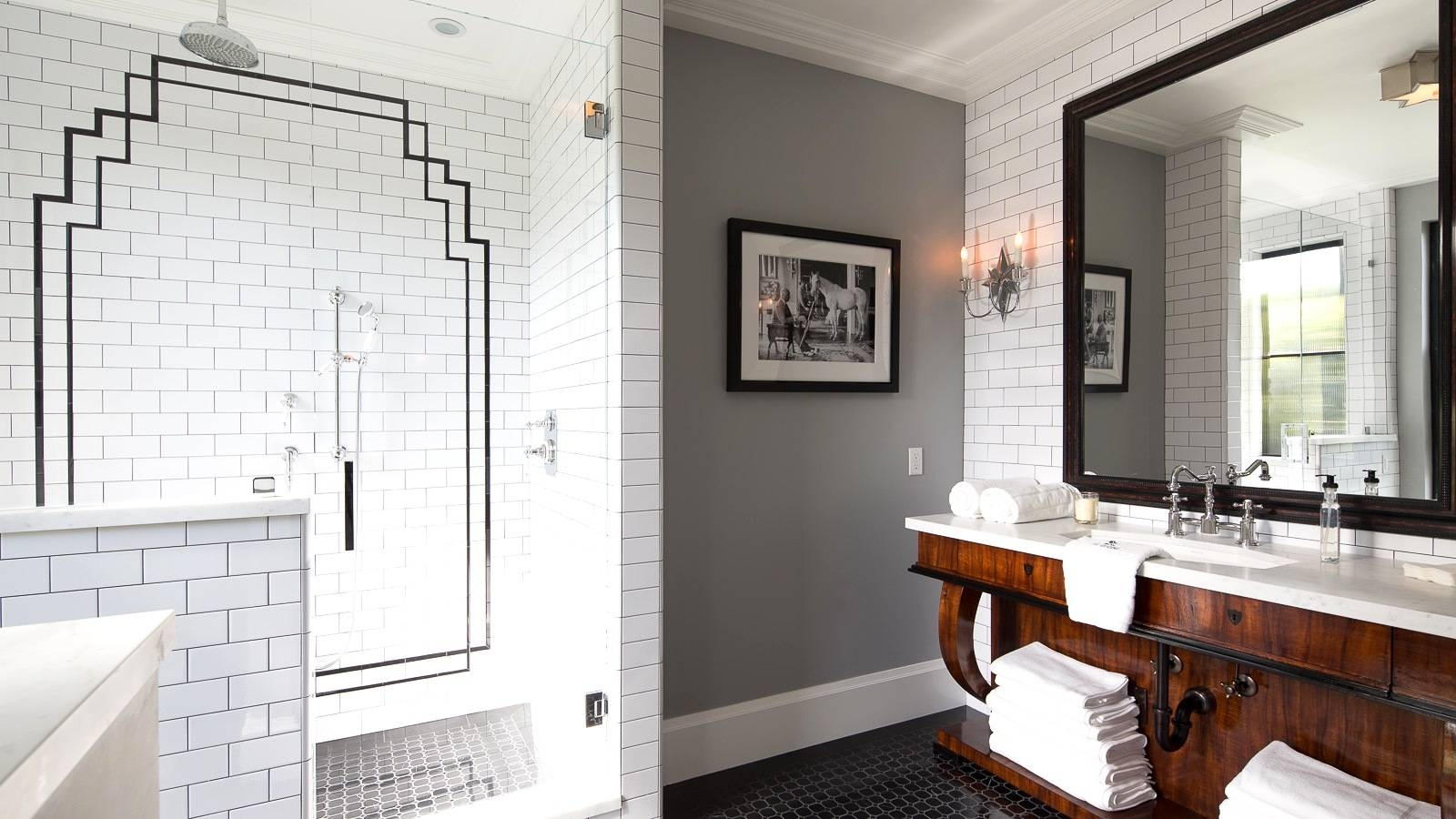 Bathroom. Modern Bathroom Art Deco Architecture Interior throughout Art Nouveau Wall Mirrors (Image 17 of 25)