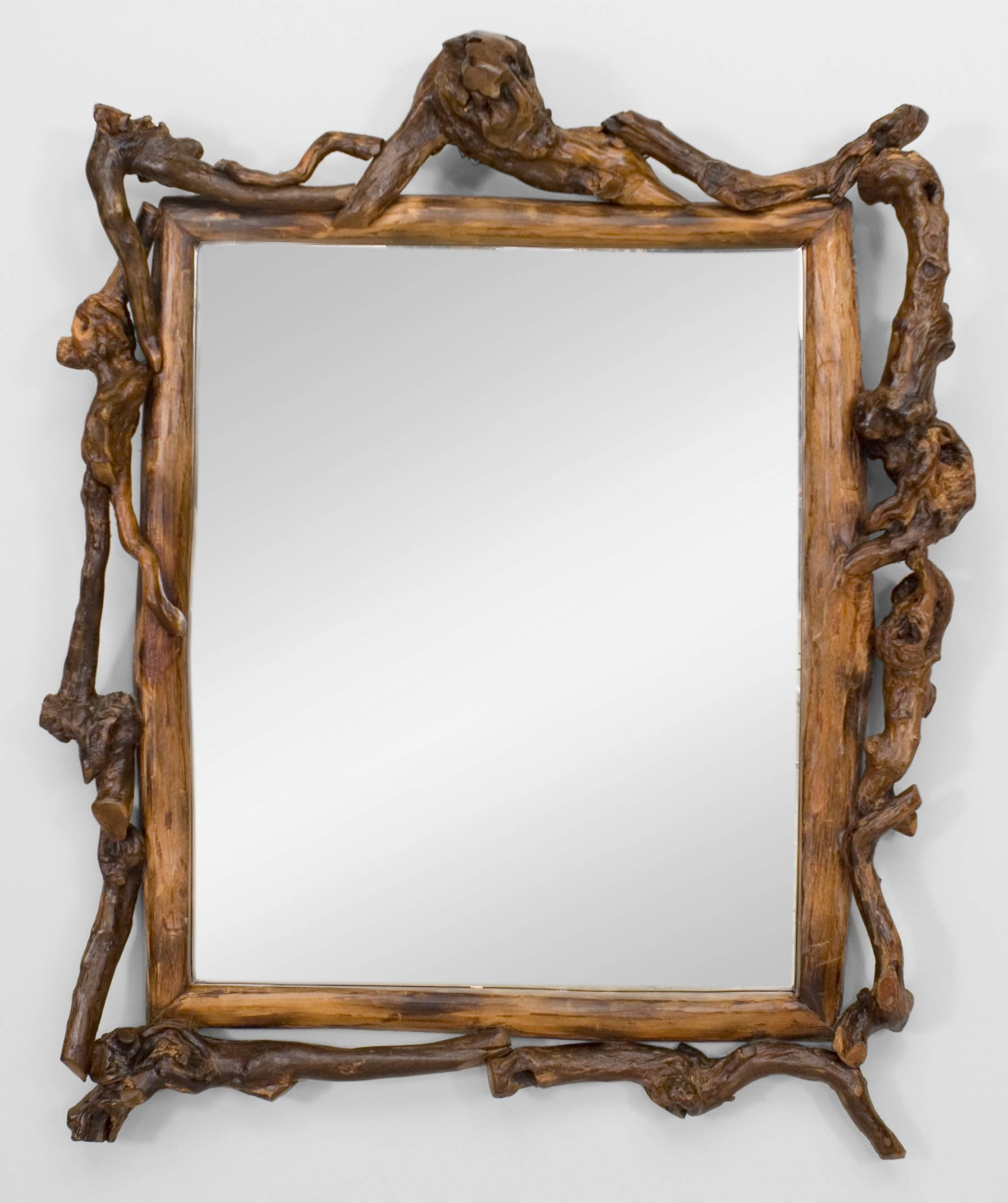 Bathroom. Rustic Bathroom Mirror With Unusual Frame Design. Rustic throughout Unusual Wall Mirrors (Image 5 of 25)