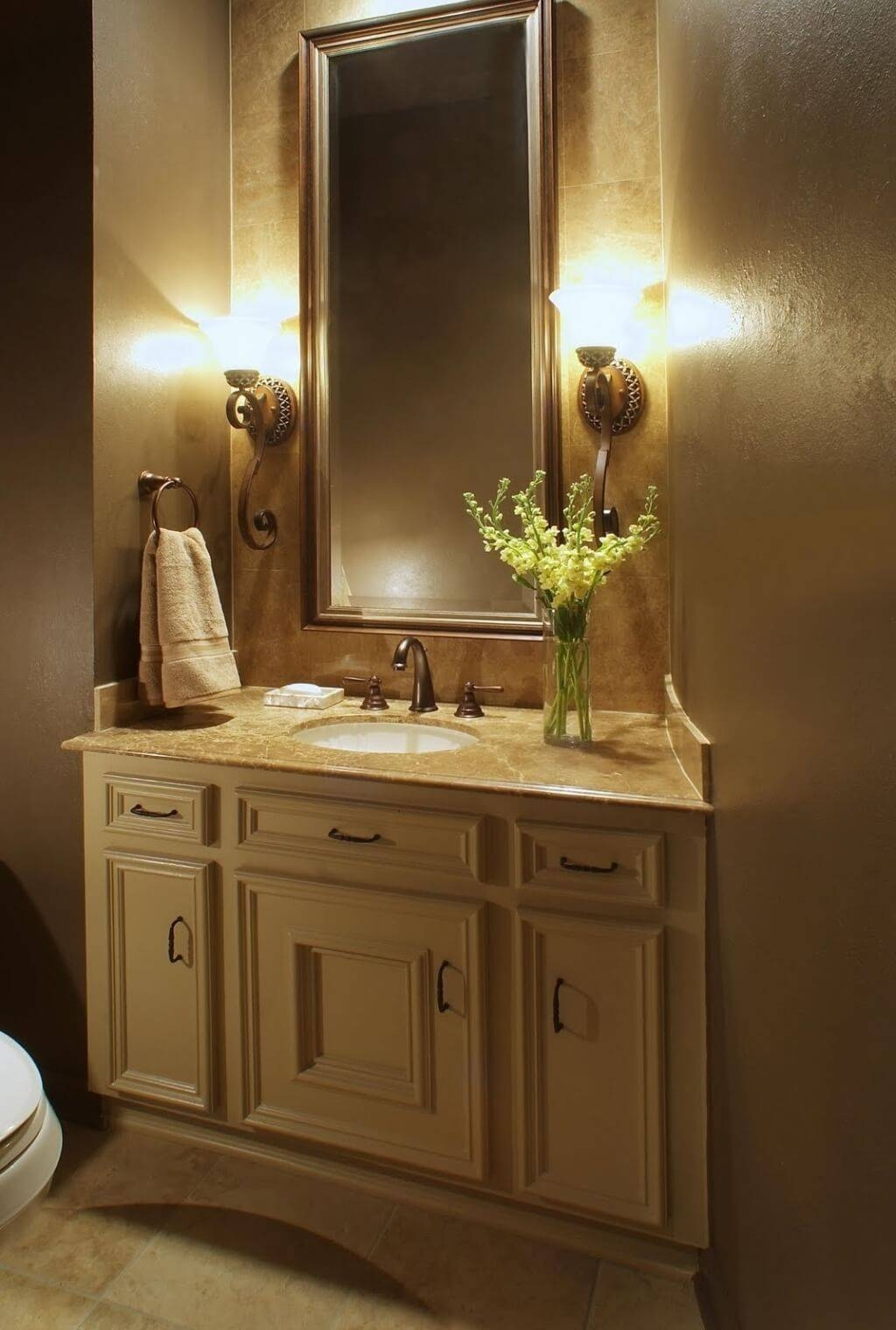 Bathroom: Sleek White Bathroom Mirrors With Lights On White Wall pertaining to Long Brown Mirrors (Image 4 of 25)