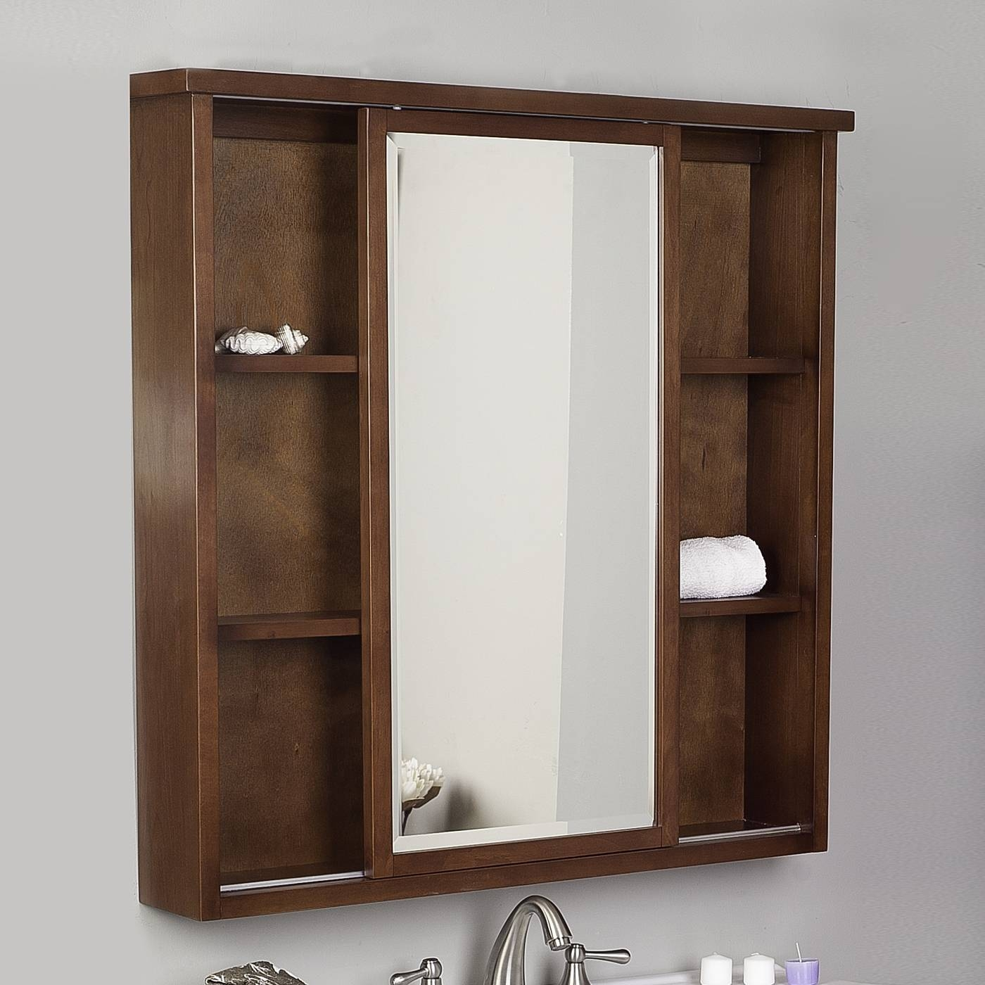 Bathroom: Stunning Wood Lowes Medicine Cabinets In Brown Plus regarding Long Brown Mirrors (Image 5 of 25)