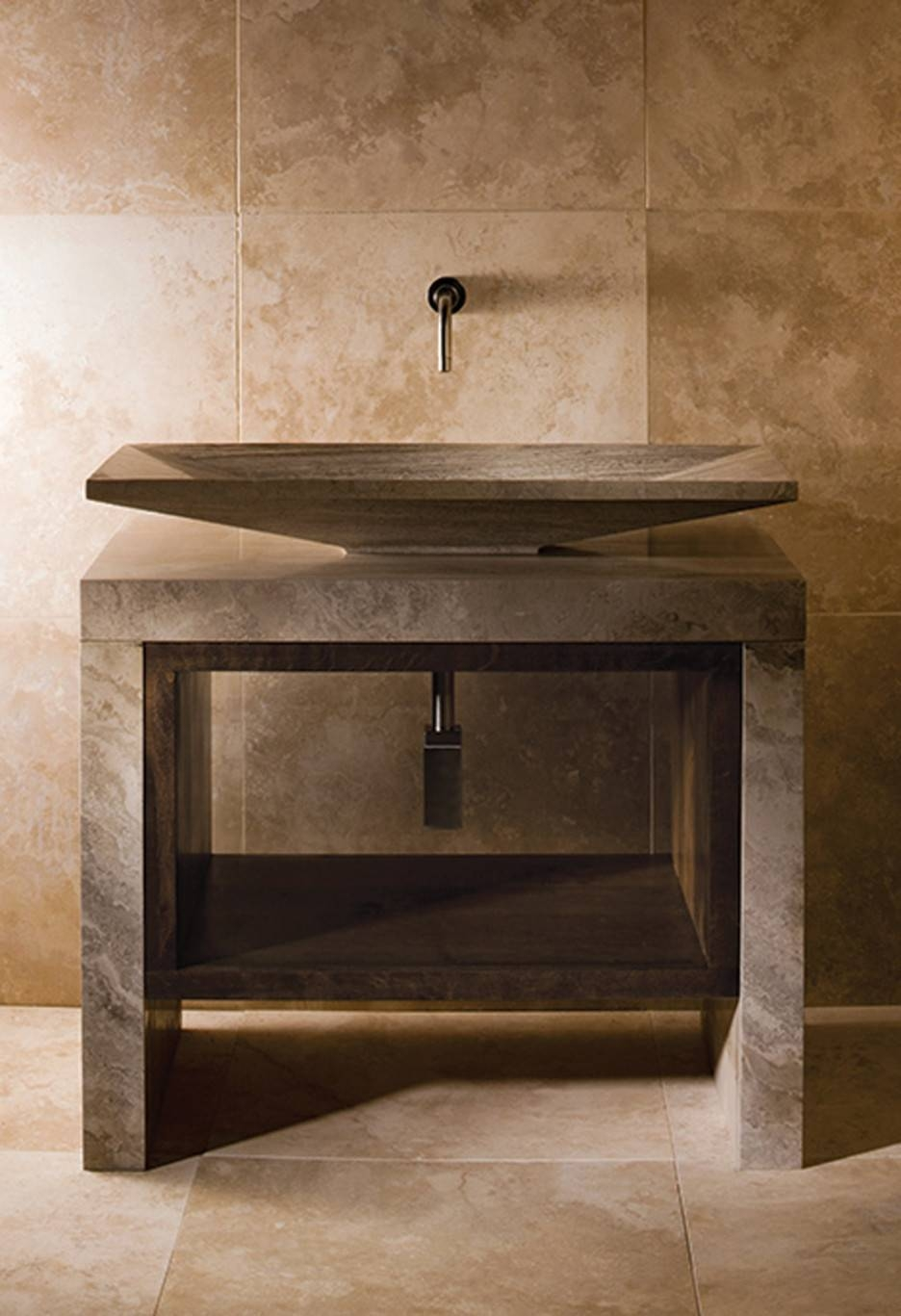 Bathroom Vanity With Carrera Marble Top Double Wall Mirror With inside Cream Wall Mirrors (Image 3 of 25)