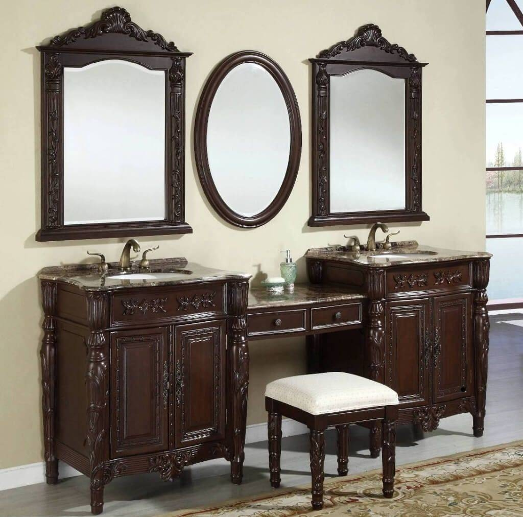 Bathroom: Vintage Tobacco Design Double Sink Vanity With Same Tone pertaining to Long Brown Mirrors (Image 6 of 25)