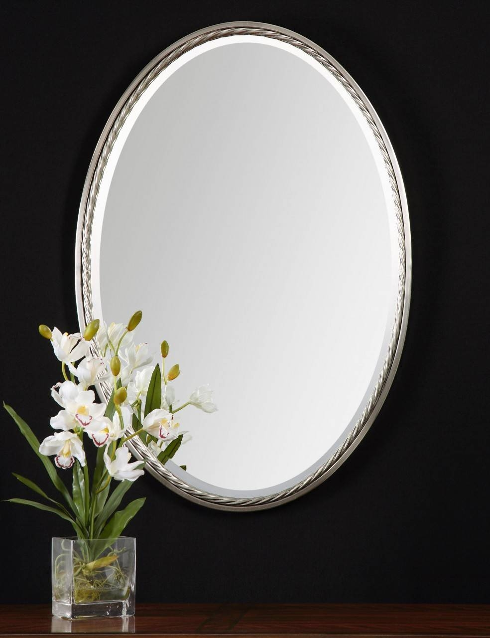 Bathroom Wall Mirrors Brushed Nickel 107 Breathtaking Decor Plus Regarding Oval Mirrors For Walls (View 23 of 25)