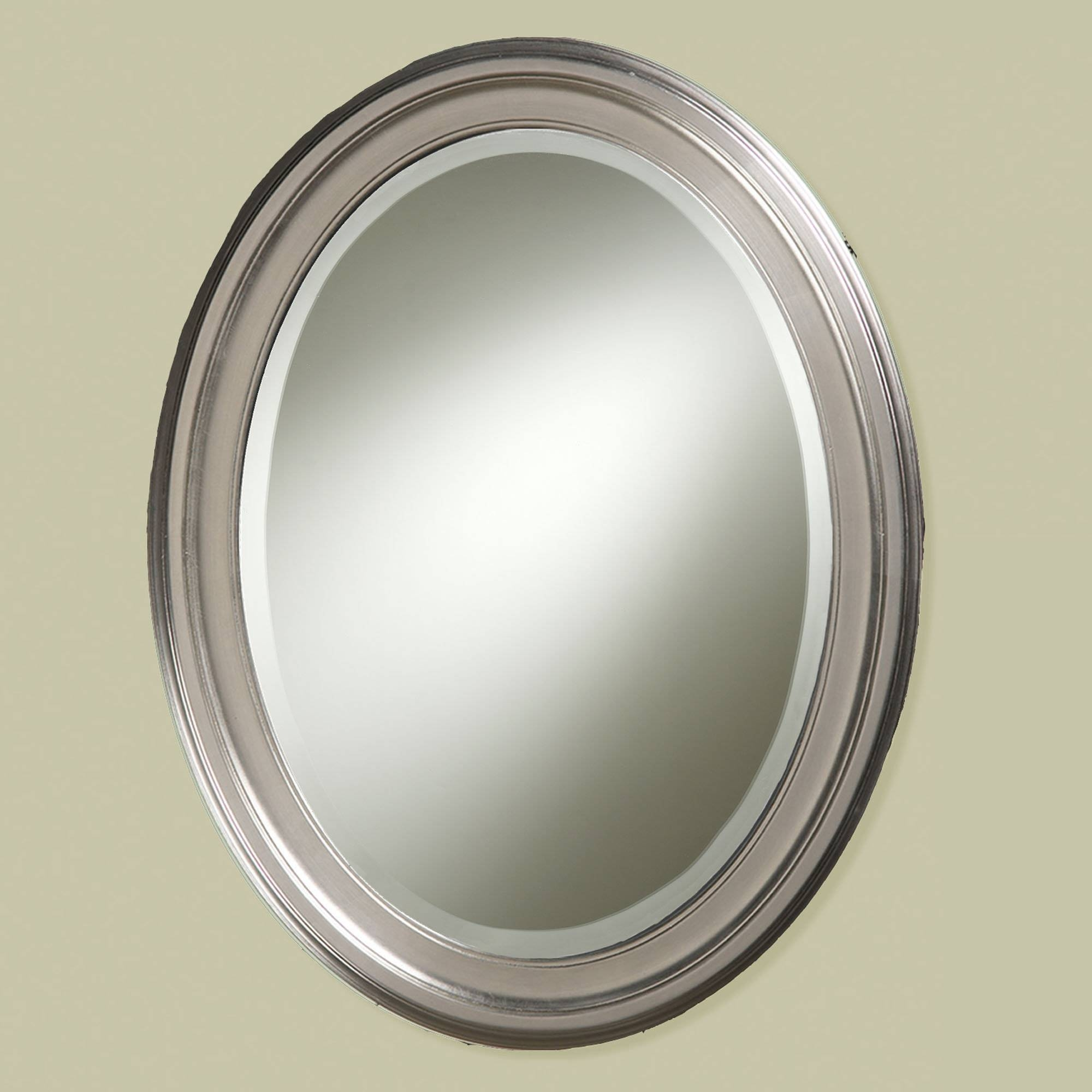 Bathroom Wall Mirrors Brushed Nickel 49 Trendy Interior Or Brushed Throughout Silver Oval Wall Mirrors (View 5 of 25)