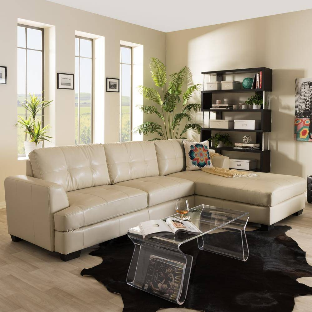 Baxton Studio Dobson Contemporary Cream Bonded Leather Upholstered pertaining to Dobson Sectional Sofa (Image 1 of 30)