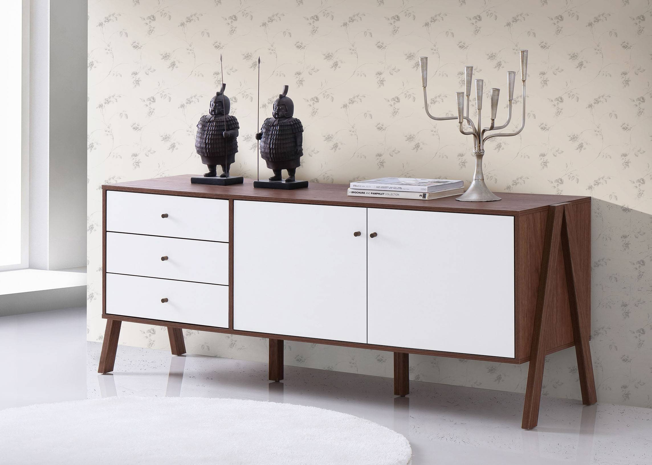 Baxton Studio Harlow Mid-Century White And Walnut Veneer Sideboard intended for White Sideboards (Image 3 of 30)