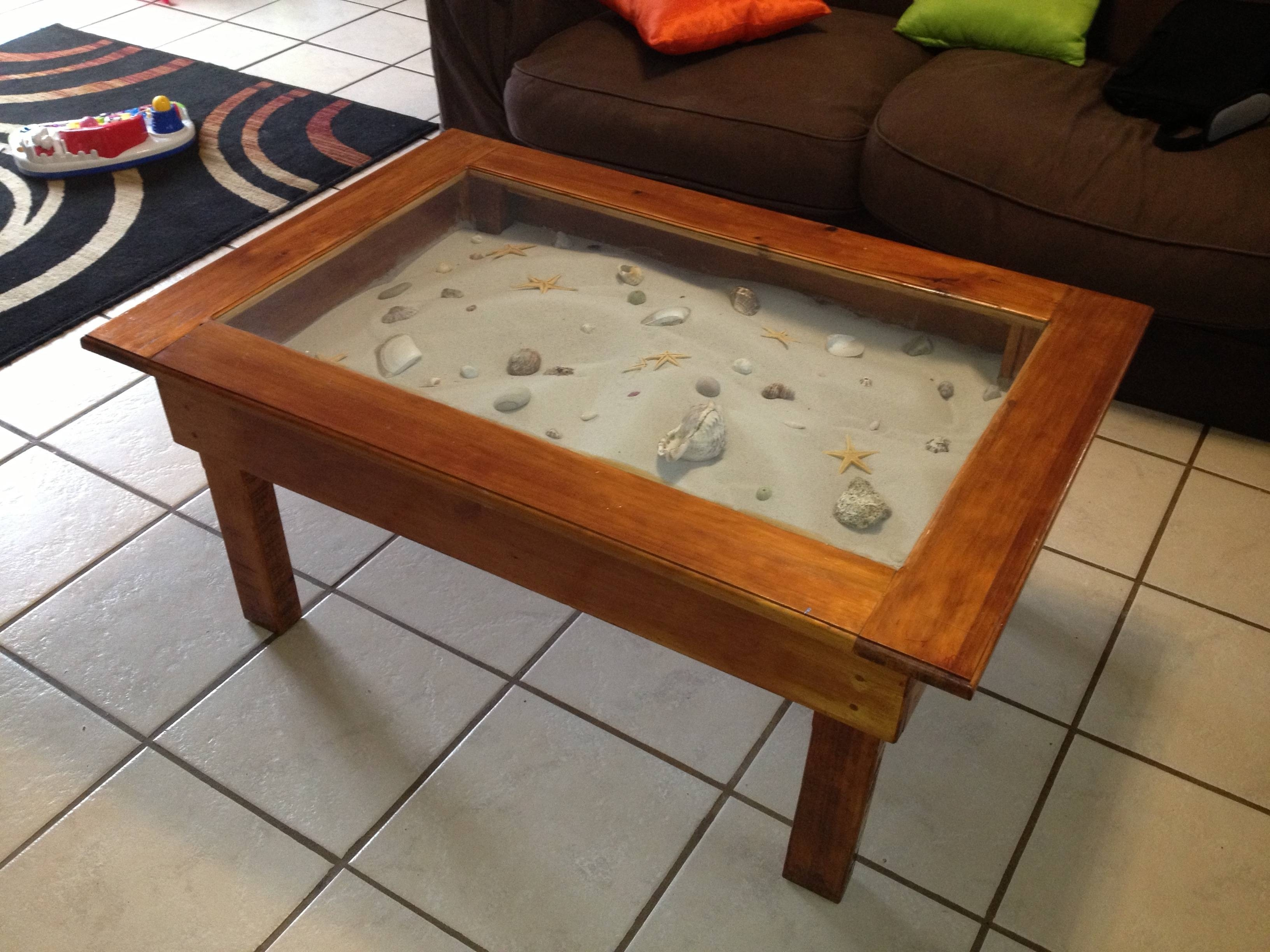 Beach Themed Coffee Table White Coastal Table-Palm Glass Console in Elephant Glass Top Coffee Tables (Image 5 of 30)