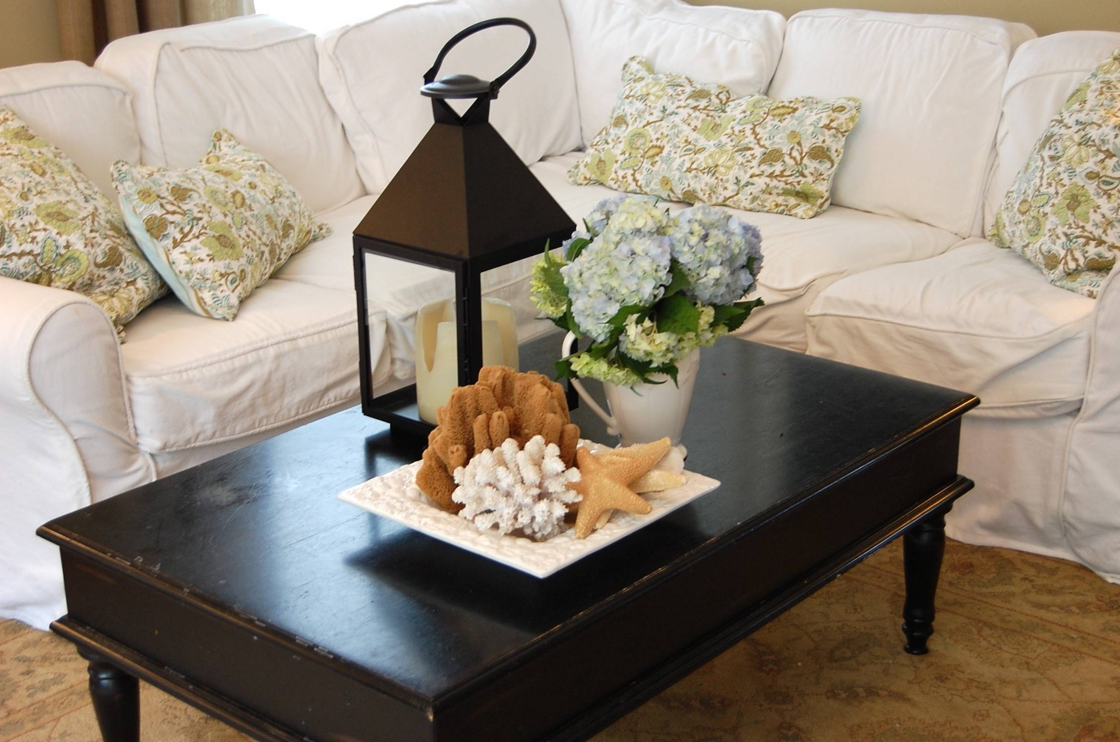 Beach Themed Coffee Table White Coastal Table-Palm Glass Console regarding Elephant Glass Coffee Tables (Image 6 of 30)
