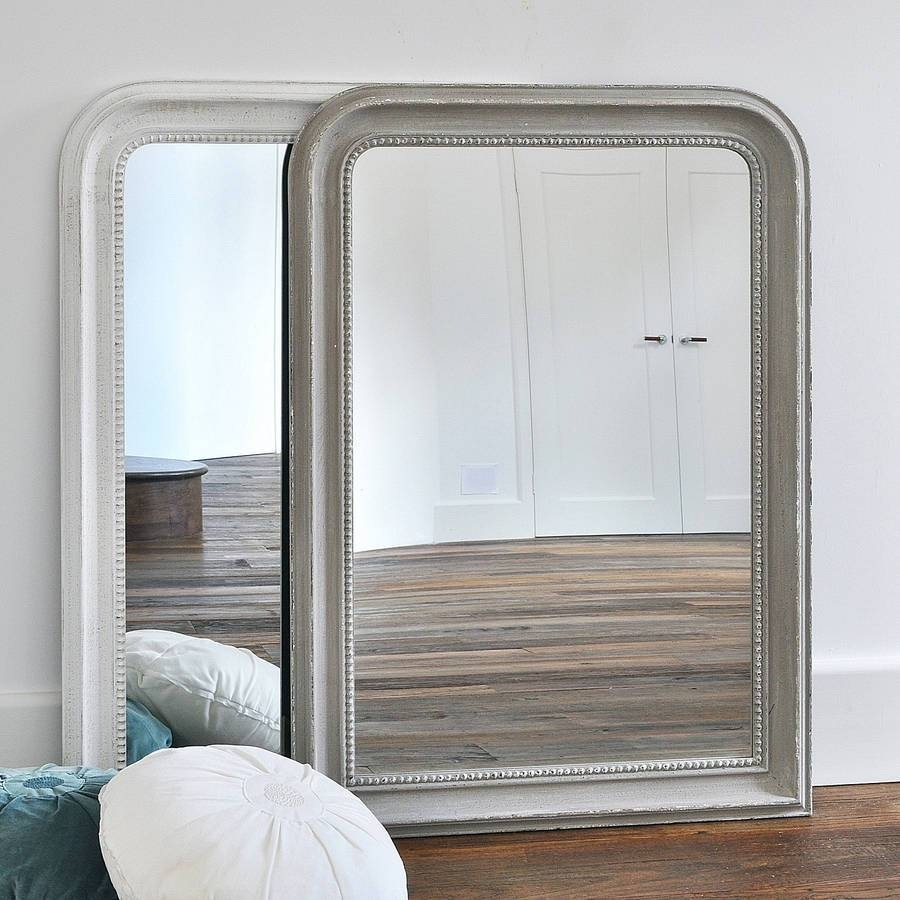 Beaded Wall Mirror White Or Greyprimrose & Plum for Cream Wall Mirrors (Image 5 of 25)