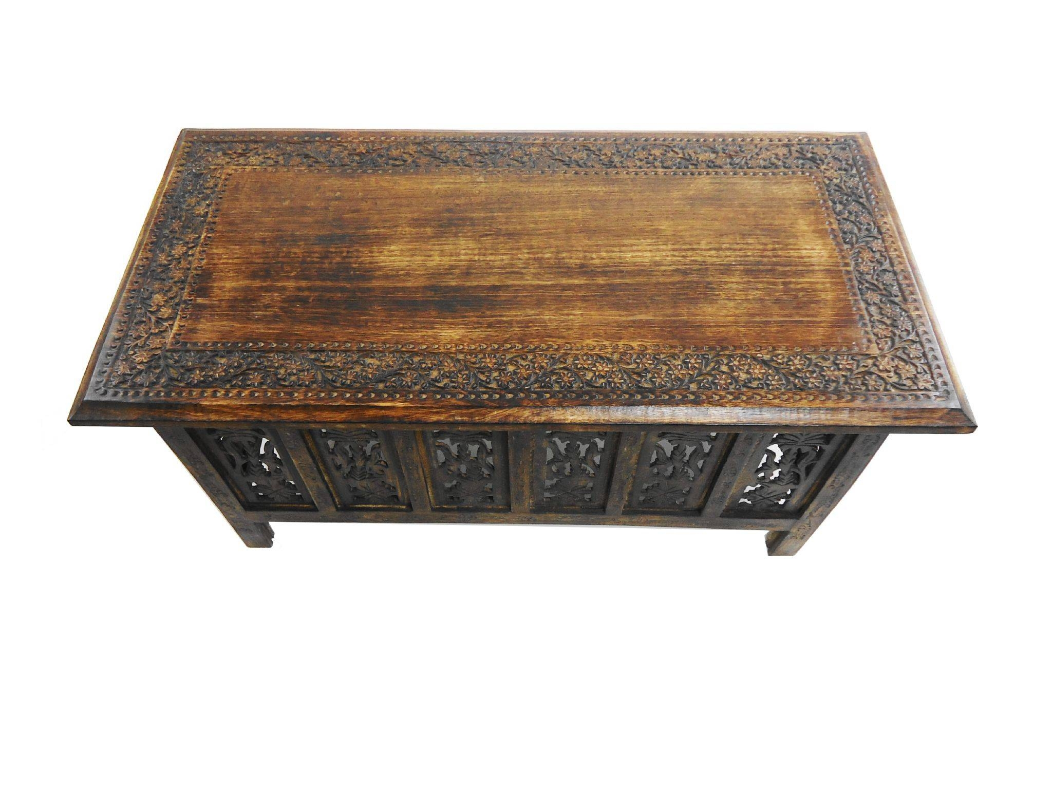 Beautiful Brown White Hand Carved Indian Wooden Coffee Table Side For Indian  Coffee Tables (Image