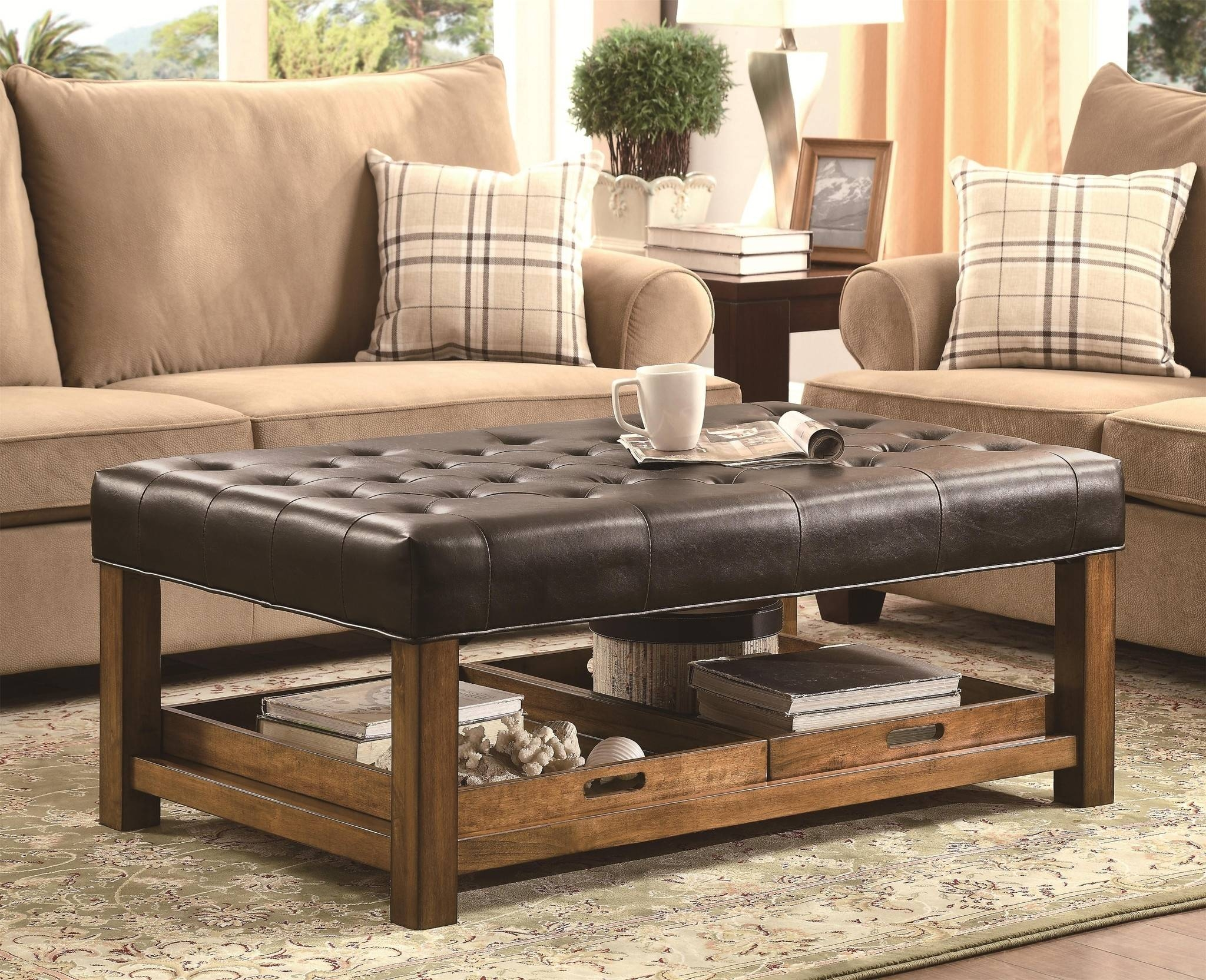 Beautiful Leather Ottoman Coffee Table Furniture For Coffee Table In Brown Leather Ottoman Coffee Tables (View 14 of 30)