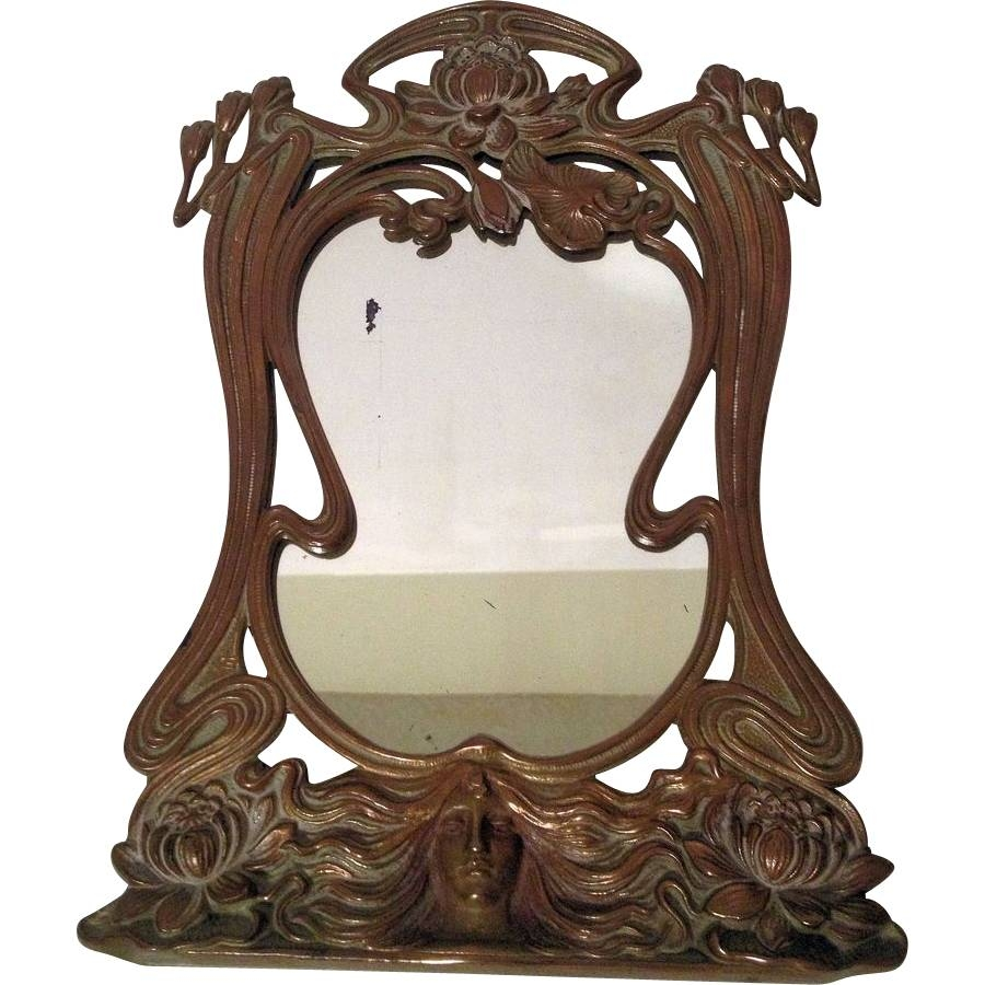 Beautiful Vintage French Art Nouveau Maiden Vanity Mirror Sold On pertaining to Art Nouveau Mirrors (Image 14 of 25)
