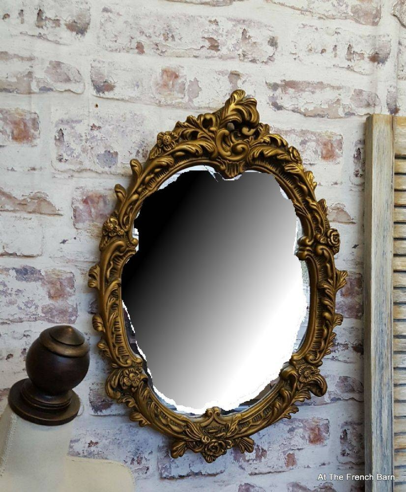 Beautiful Vintage Rococo Mirror Carved Plaster Wood Oval Pertaining To Gold Mirrors