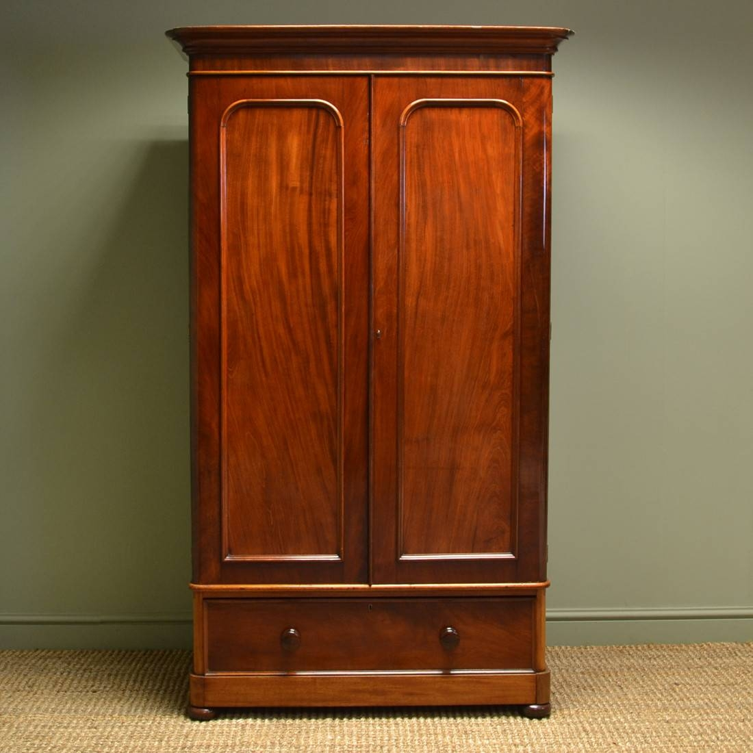 Beautifully Figured Small Mahogany Antique Victorian Double In Small Tallboy Wardrobes (View 3 of 15)