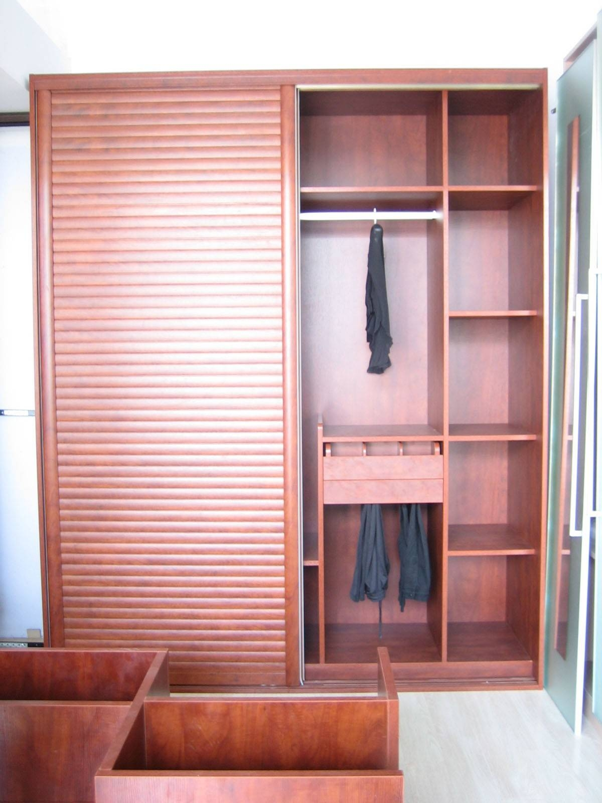 Bedroom : Bedroom Interior L Shaped Two Tone Wooden Wardrobe And intended for Double Wardrobe With Drawers And Shelves (Image 5 of 30)