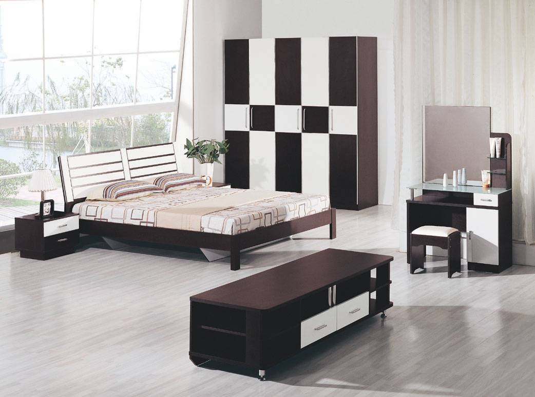 Bedroom: Charming Wooden Bedroom Furniture Set With Large Wooden with regard to Black and White Wardrobes Set (Image 3 of 15)