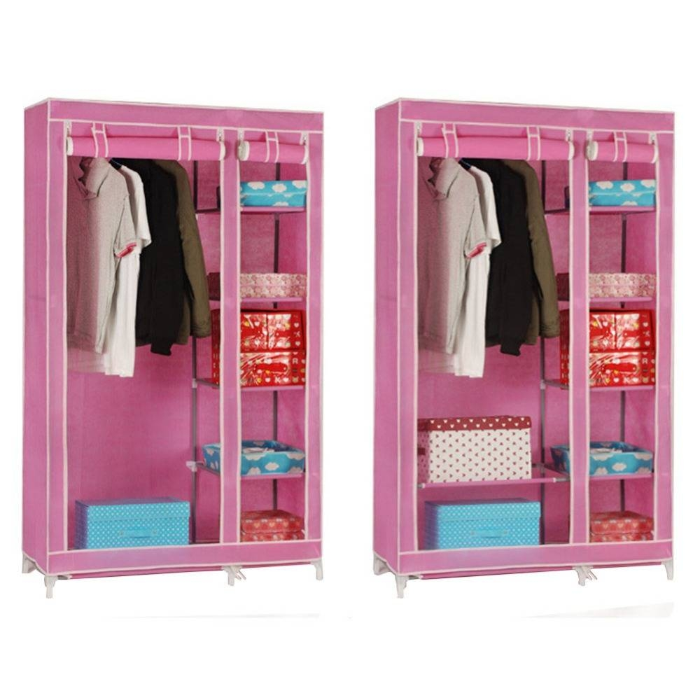 Bedroom Clothes Storage ~ Dact in Double Canvas Wardrobe Rail Clothes Storage Cupboard (Image 3 of 30)