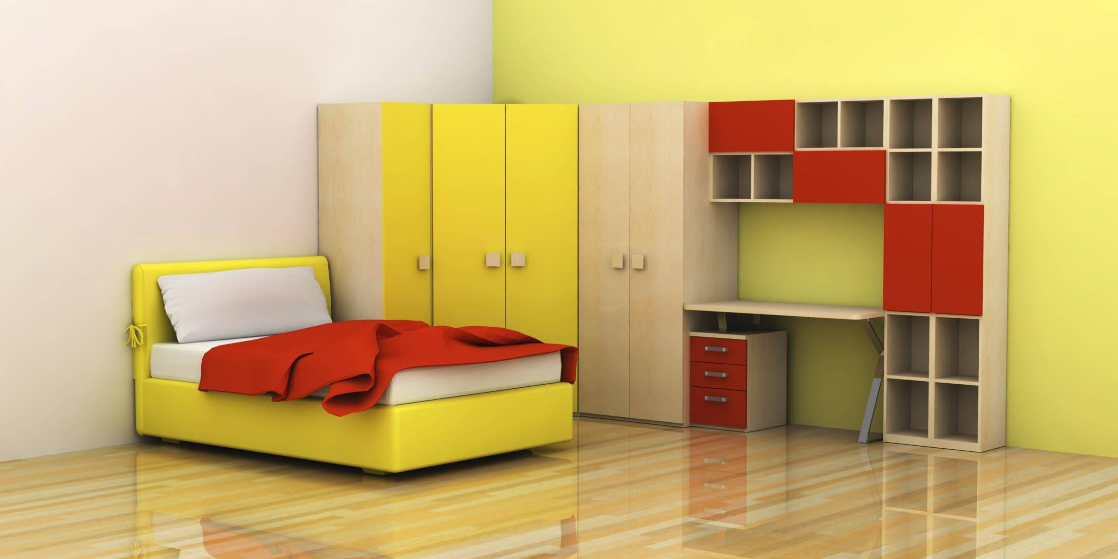Bedroom: Colorful Furniture With Orange Domination With High within Childrens Wardrobes With Drawers And Shelves (Image 3 of 30)