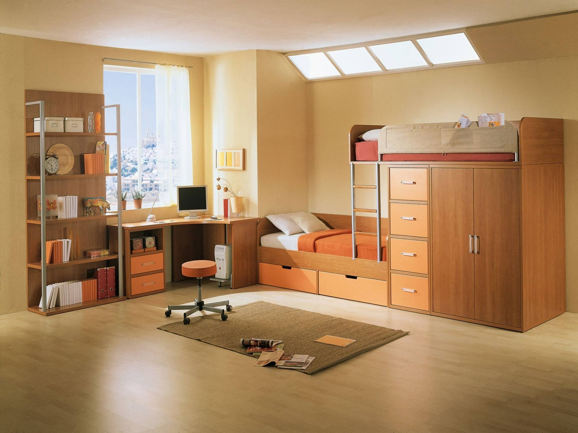 Bedroom: Cool Bunk Beds For Adults Be Equipped With Brown Wooden for Childrens Bed With Wardrobes Underneath (Image 1 of 15)