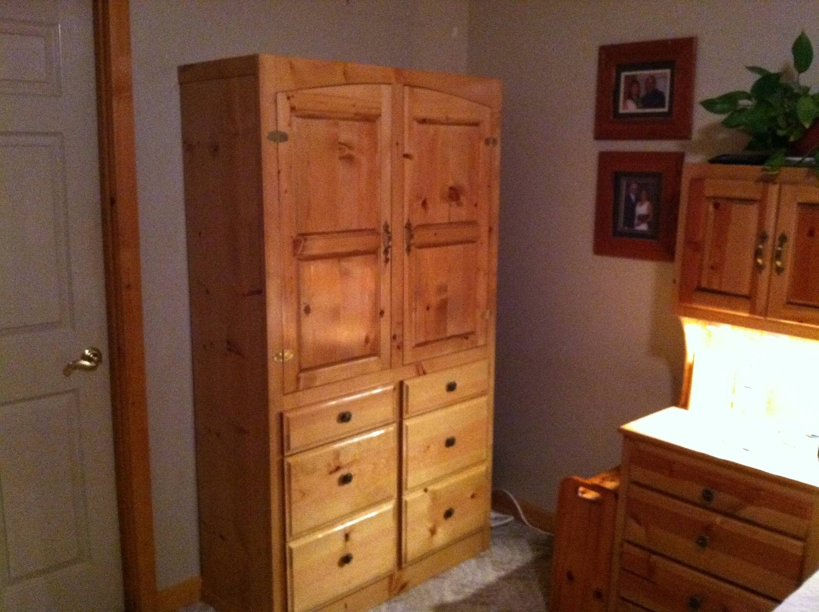 Bedroom: Creative Oak Wood Unstained Craftsman Bedroom Wall Units Pertaining To Oak Wardrobe With Drawers And Shelves (View 16 of 30)