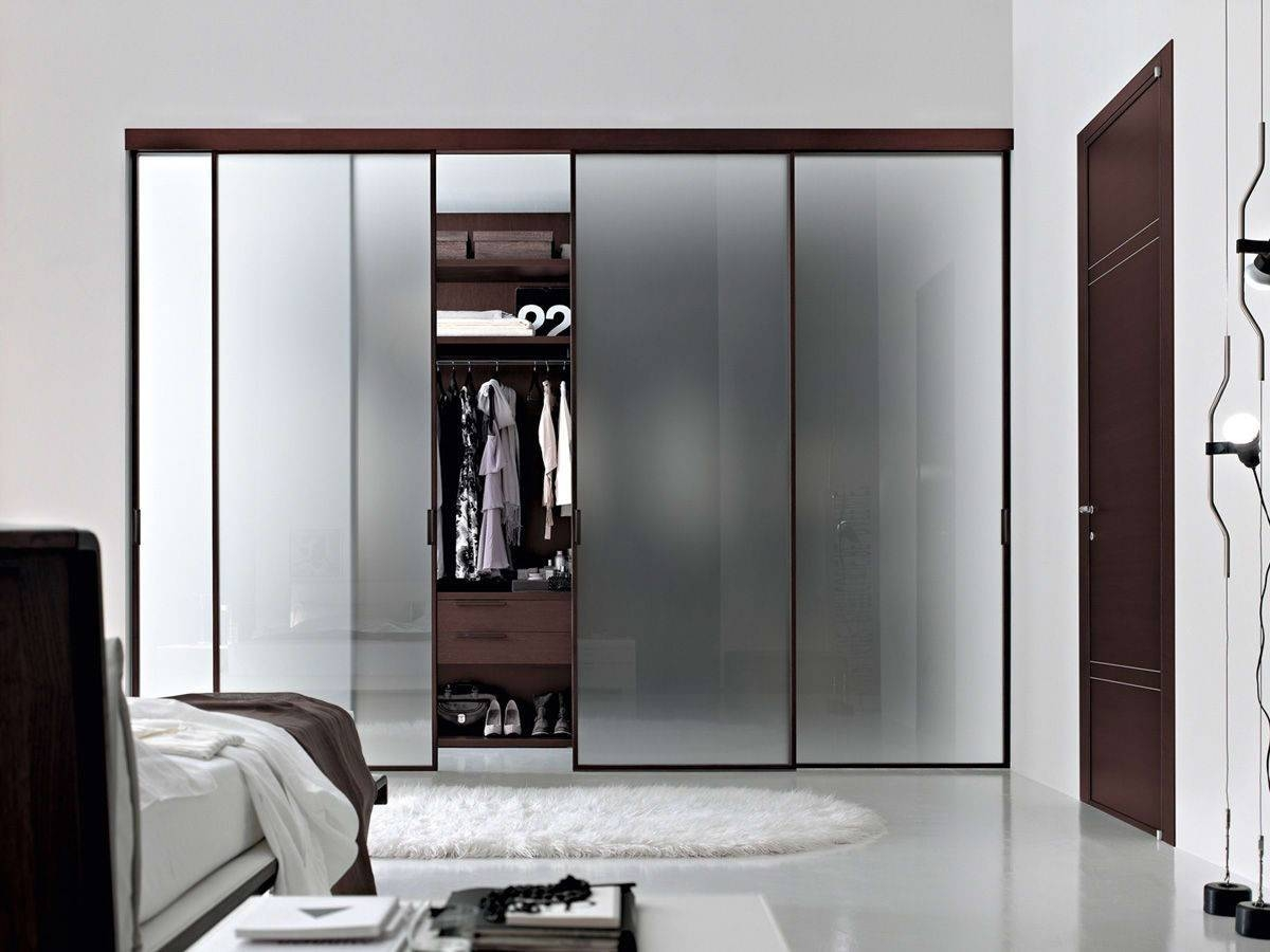 Bedroom : Design Bedroom Lighting White Wall Large Glass Sliding inside Dark Wood Wardrobe Sliding Doors (Image 3 of 30)