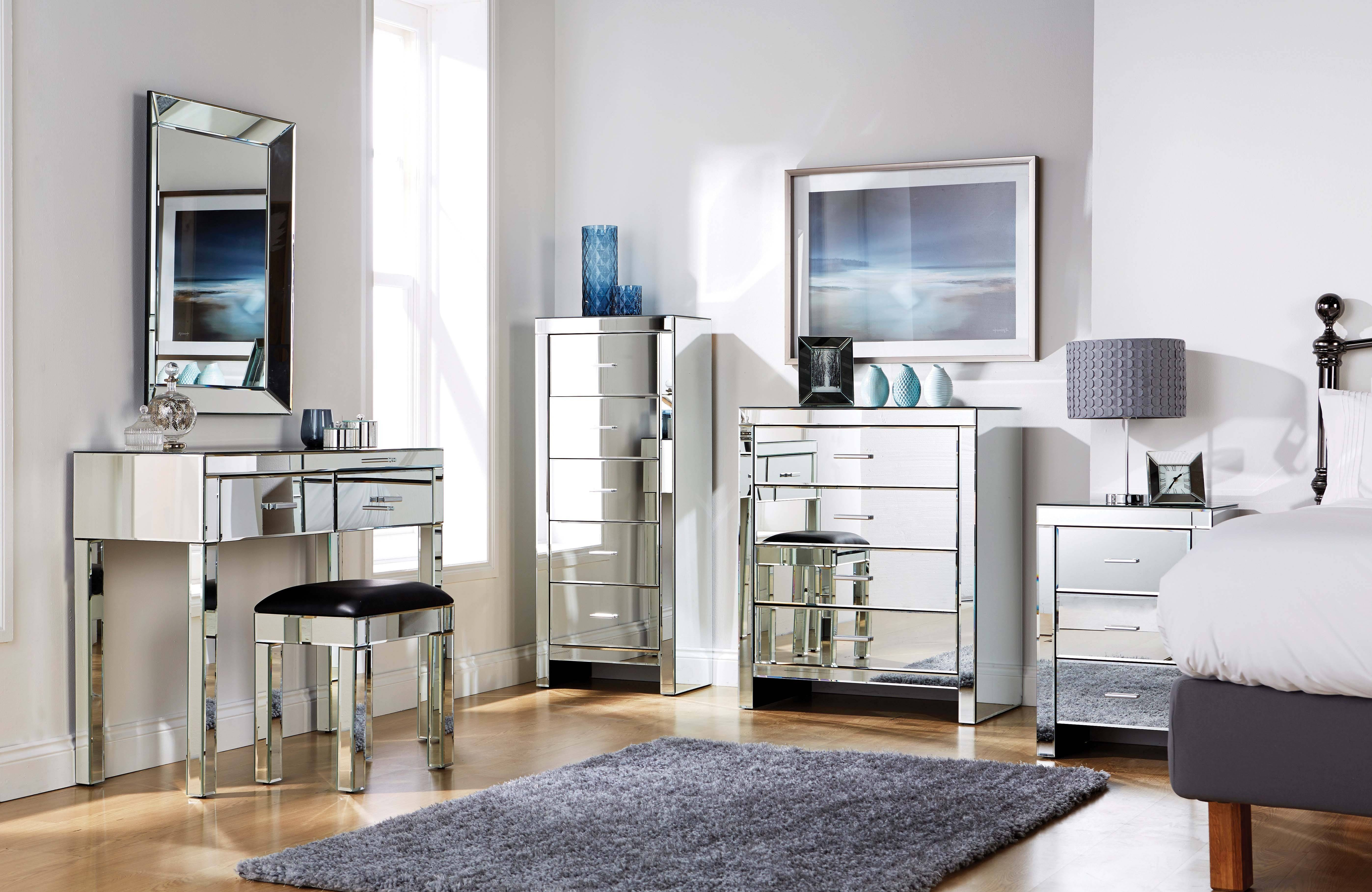 Bedroom: Elegant Mirrored Bedroom Furniture Mirrored Furniture Uk for Venetian Table Mirrors (Image 4 of 25)