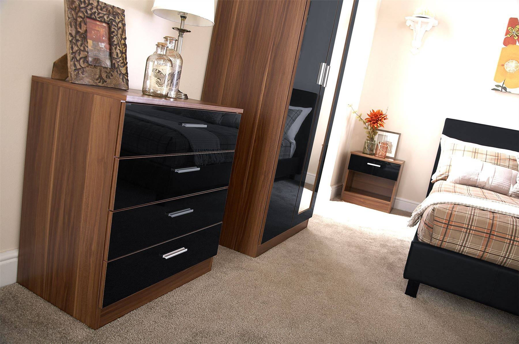 Bedroom Furniture 3 Piece Set Black Gloss & Walnut Wardrobe In Wardrobes And Chest Of Drawers Combined (View 13 of 15)